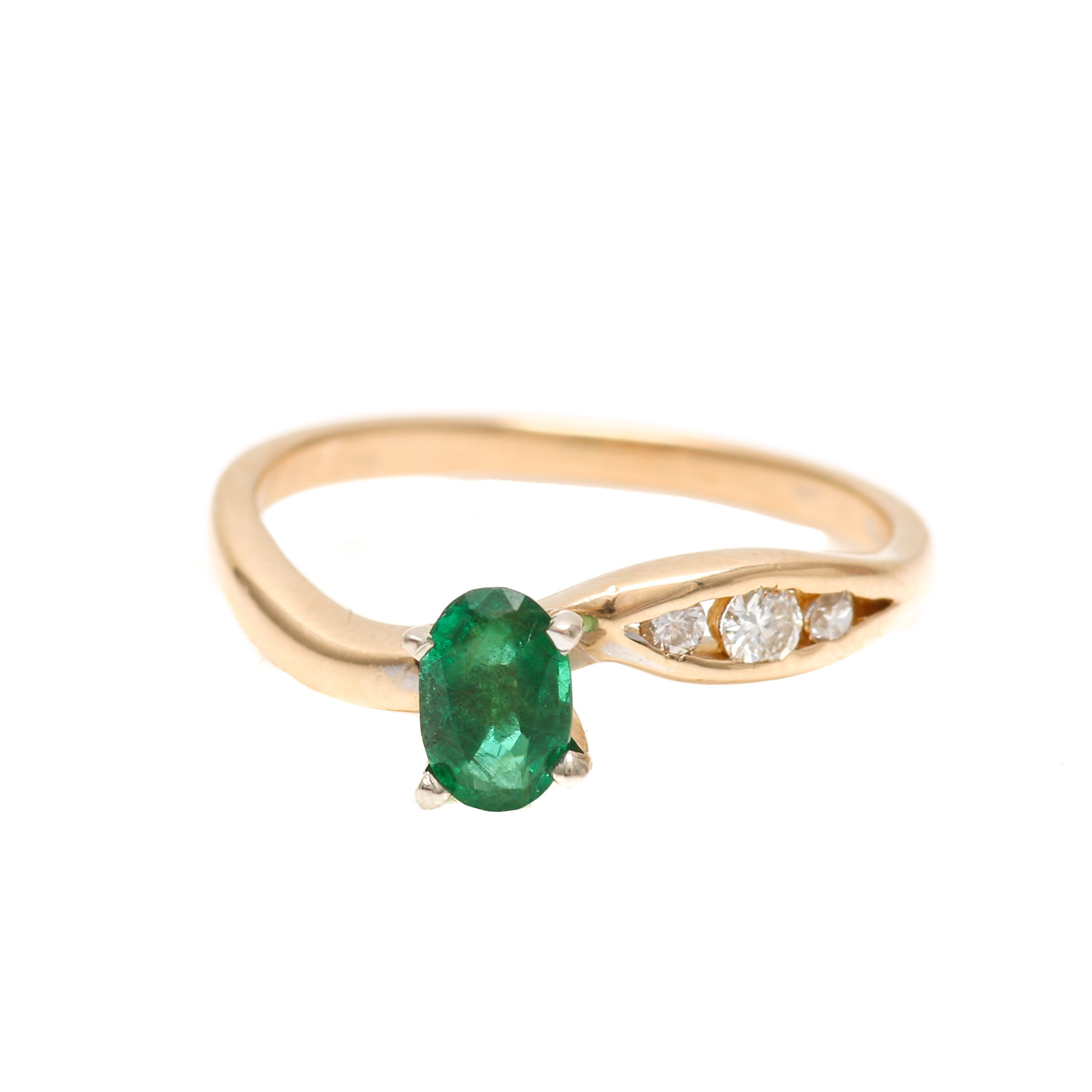 14K Two Tone Gold Emerald and Diamond Ring EBTH