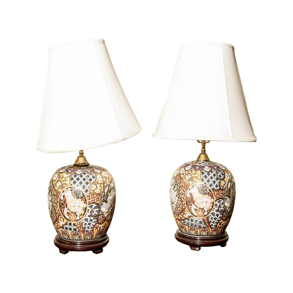 Hand Painted Ceramic Chinese Style Table Lamps Ebth