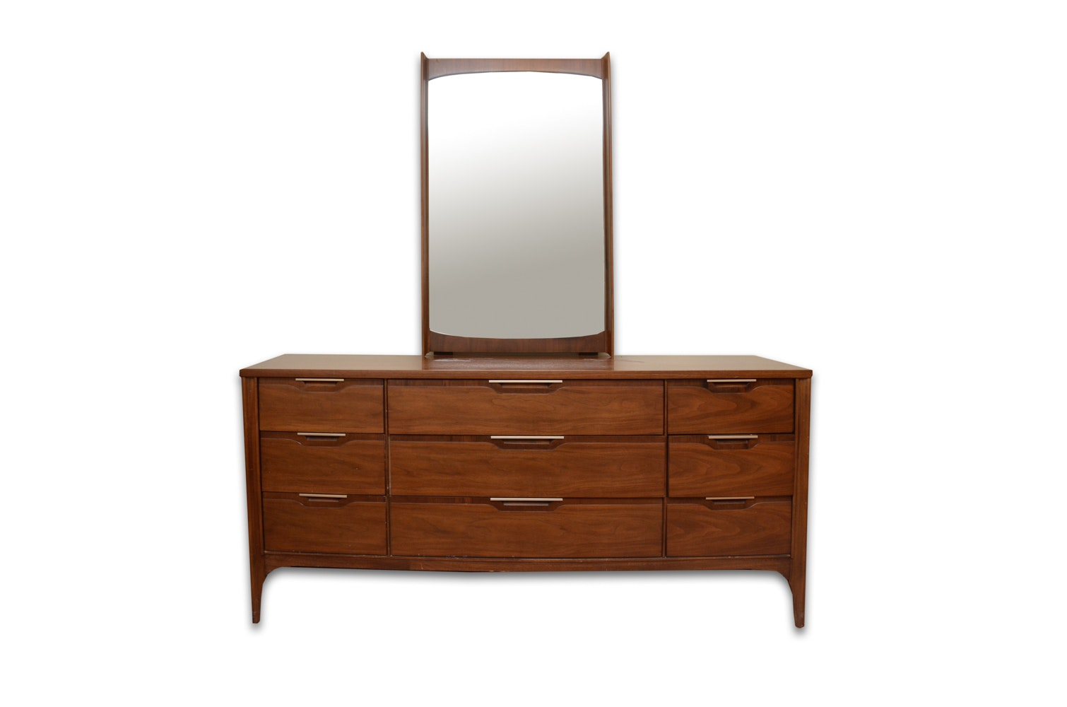 """Impact"" Walnut Chest of Drawers by Kent-Coffey with Mirror"