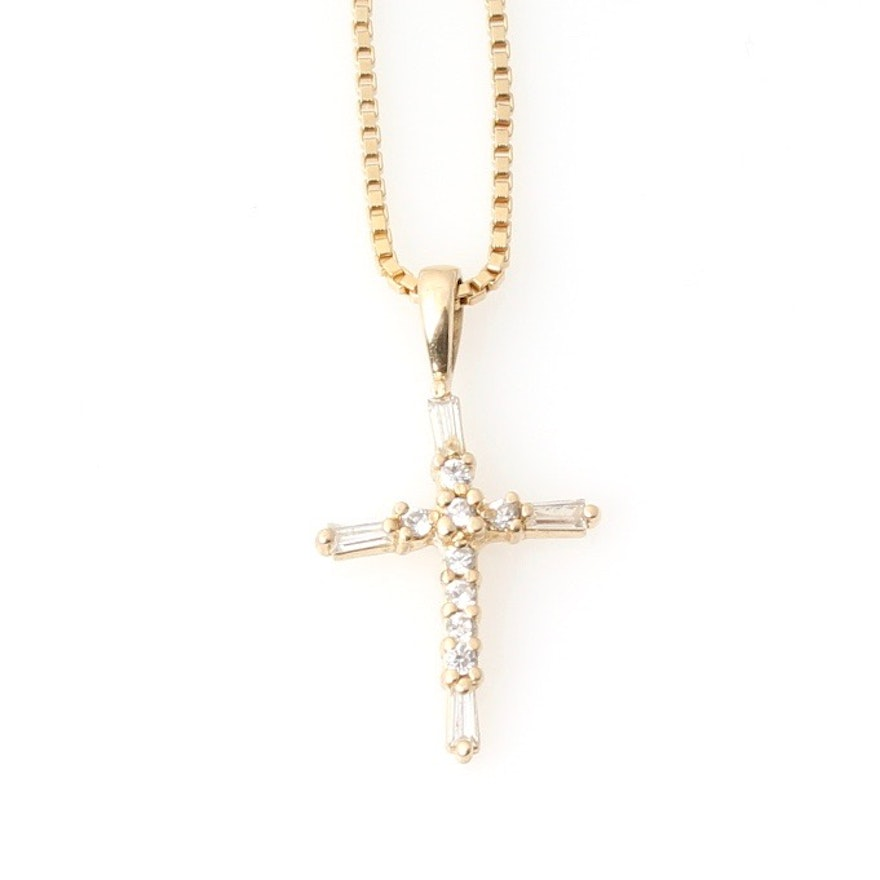 Sterling silver cubic zirconia cross pendant necklace ebth sterling silver cubic zirconia cross pendant necklace aloadofball Image collections