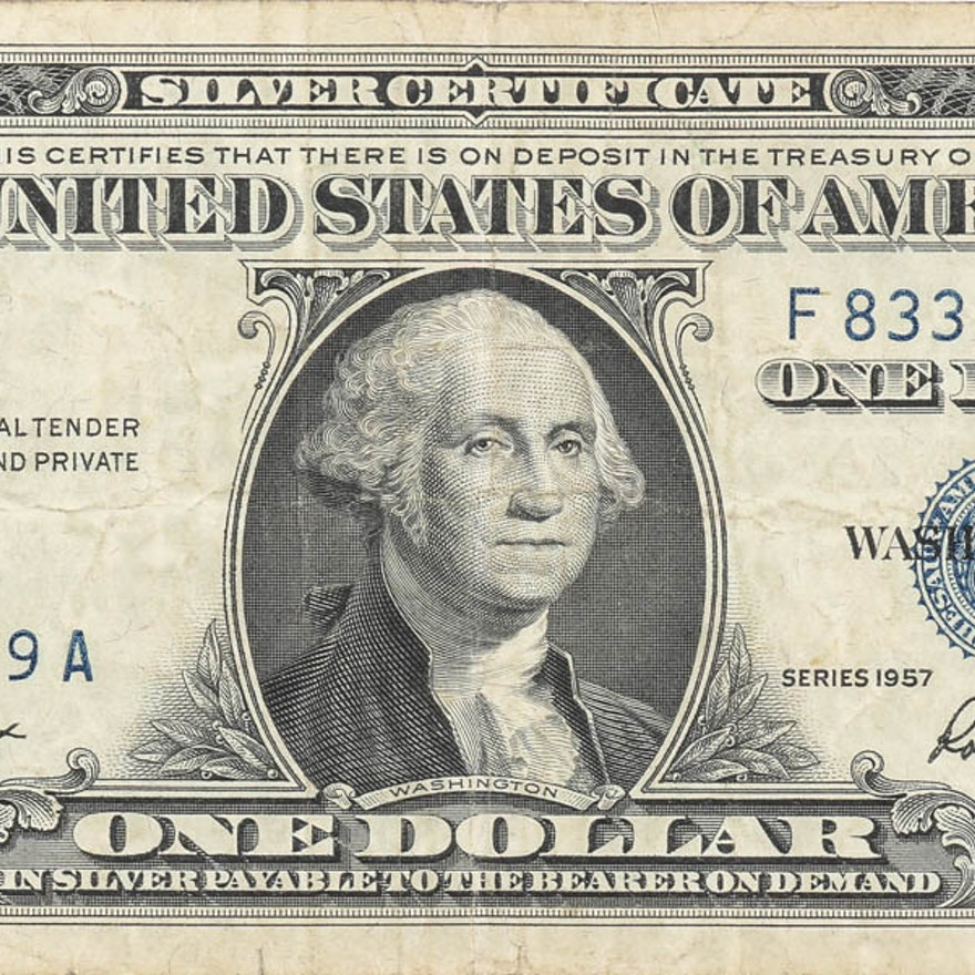 1957 One Dollar Silver Certificate with Blue Seal : EBTH