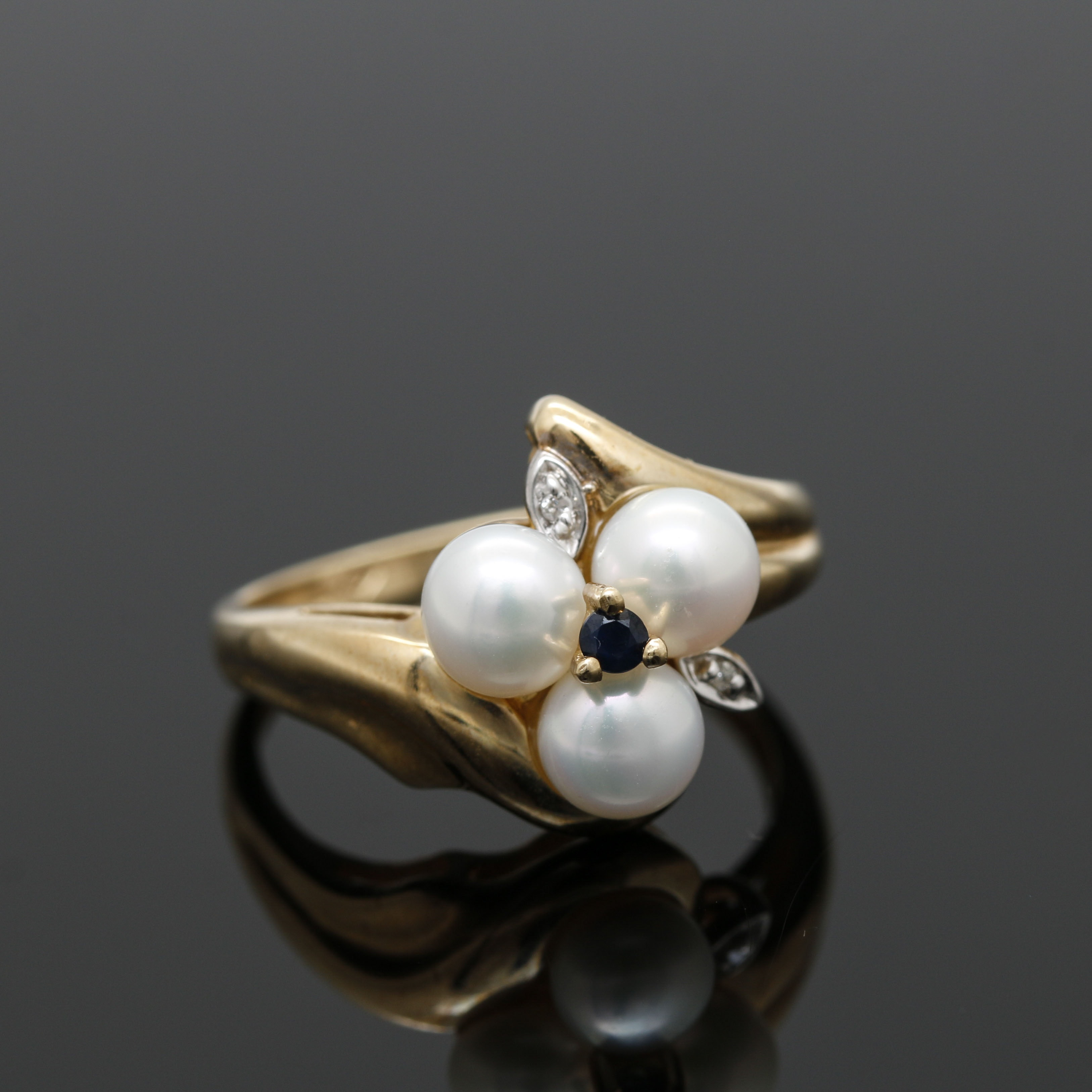 10K Yellow Gold Sapphire and Cultured Pearl Floral Ring with Diamond Accents
