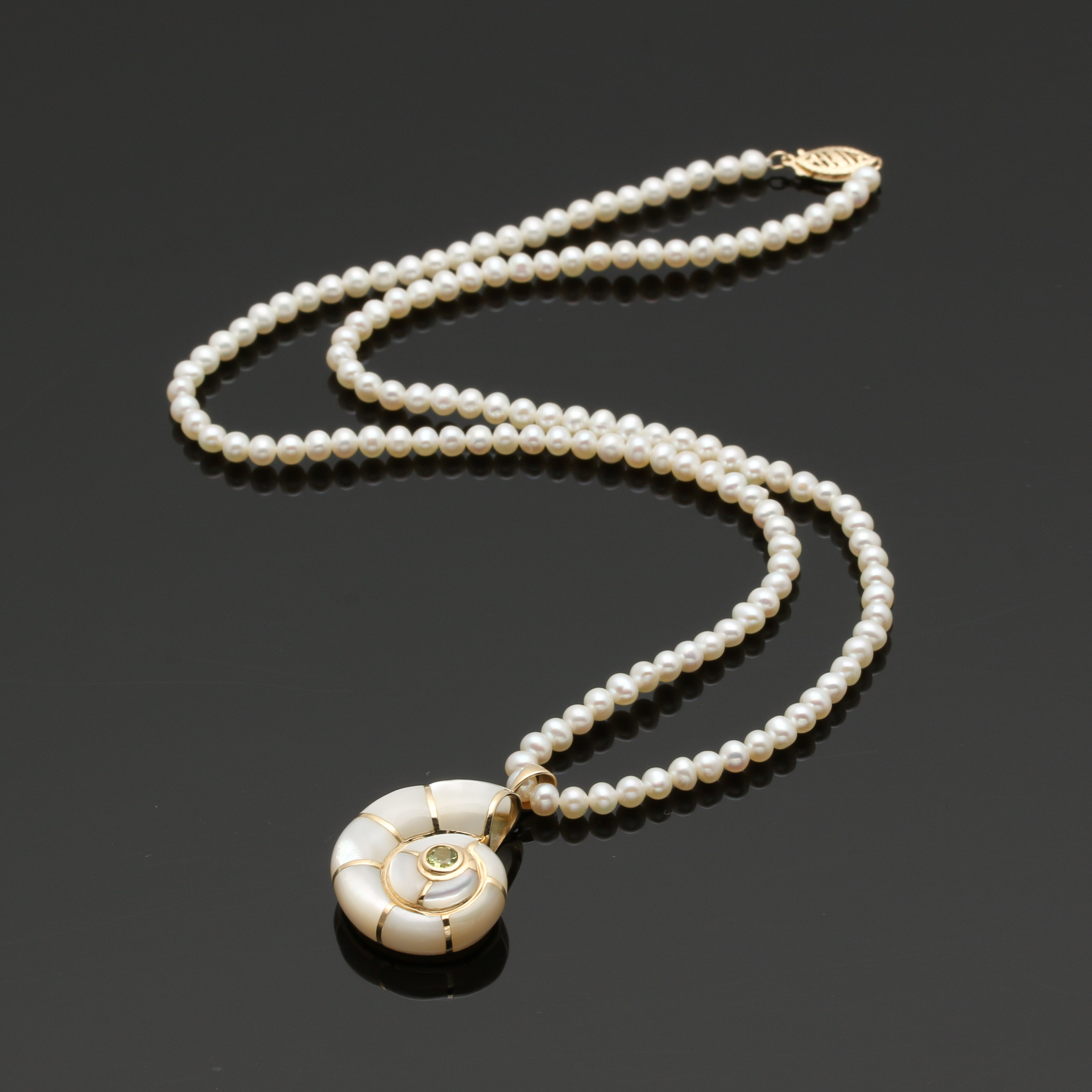 14K Yellow Gold Cultured Pearl and Gemstone Pendant Necklace