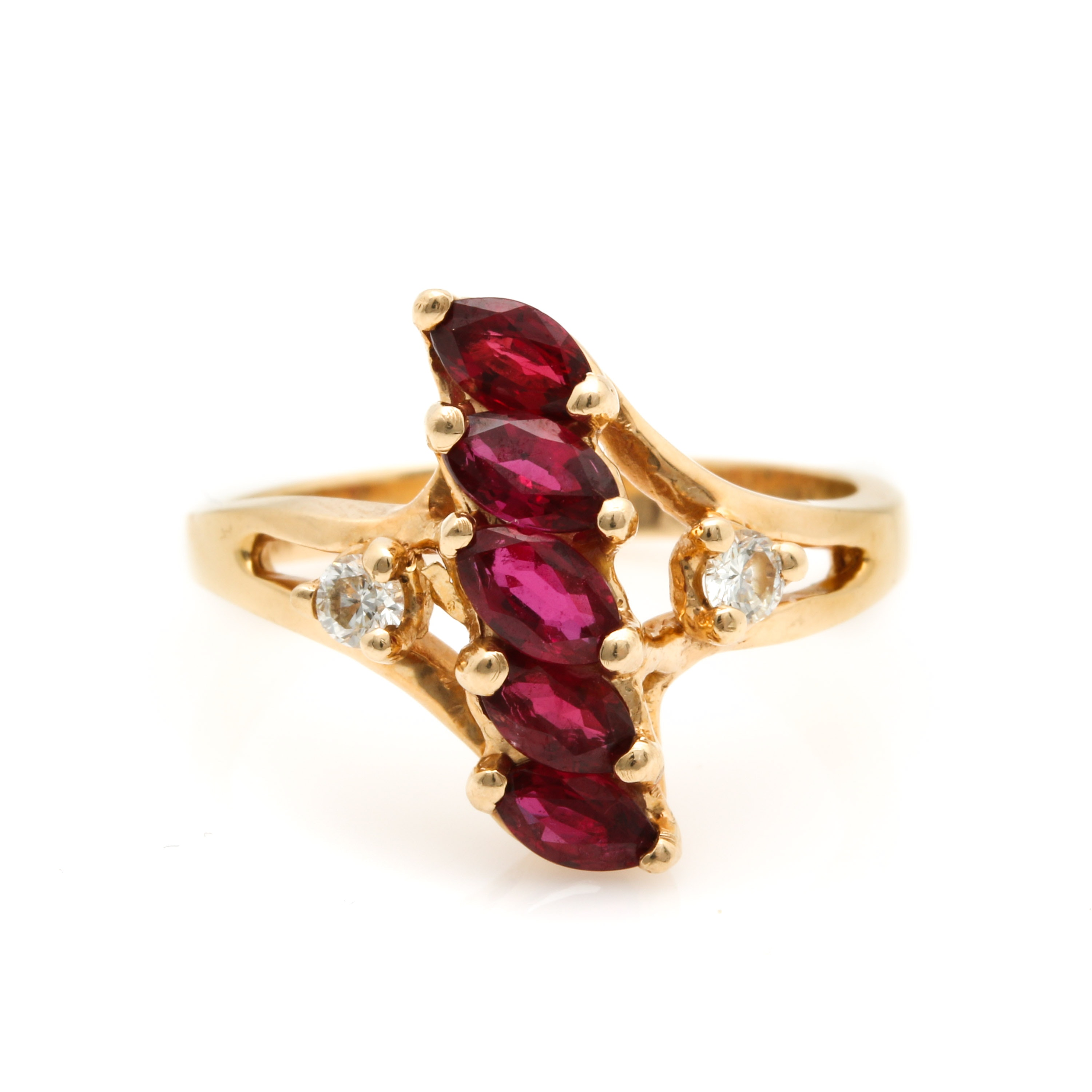 Clyde Duneier 14K Yellow Gold Ruby and Diamond Ring