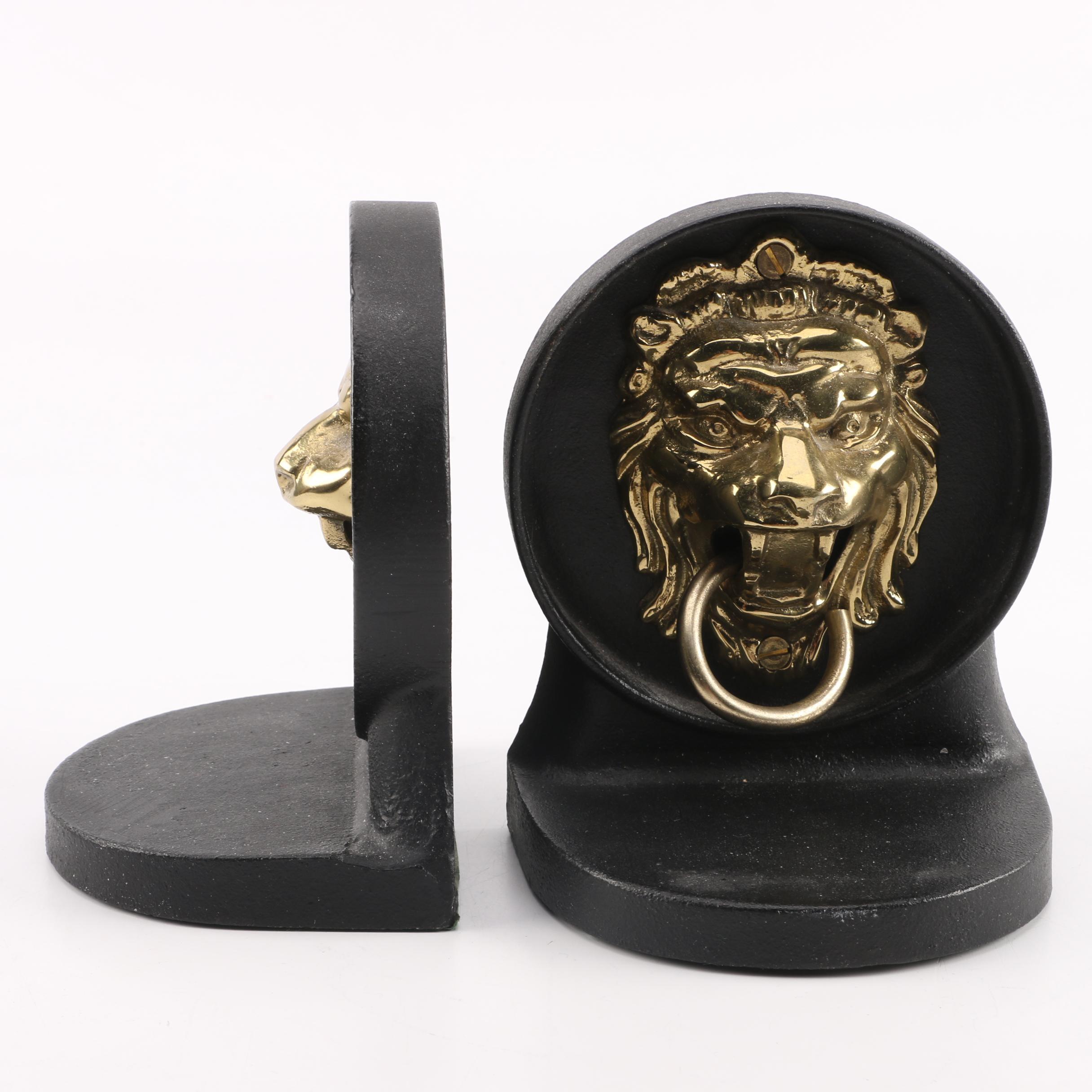 Lion Knocker Bookends Ebth