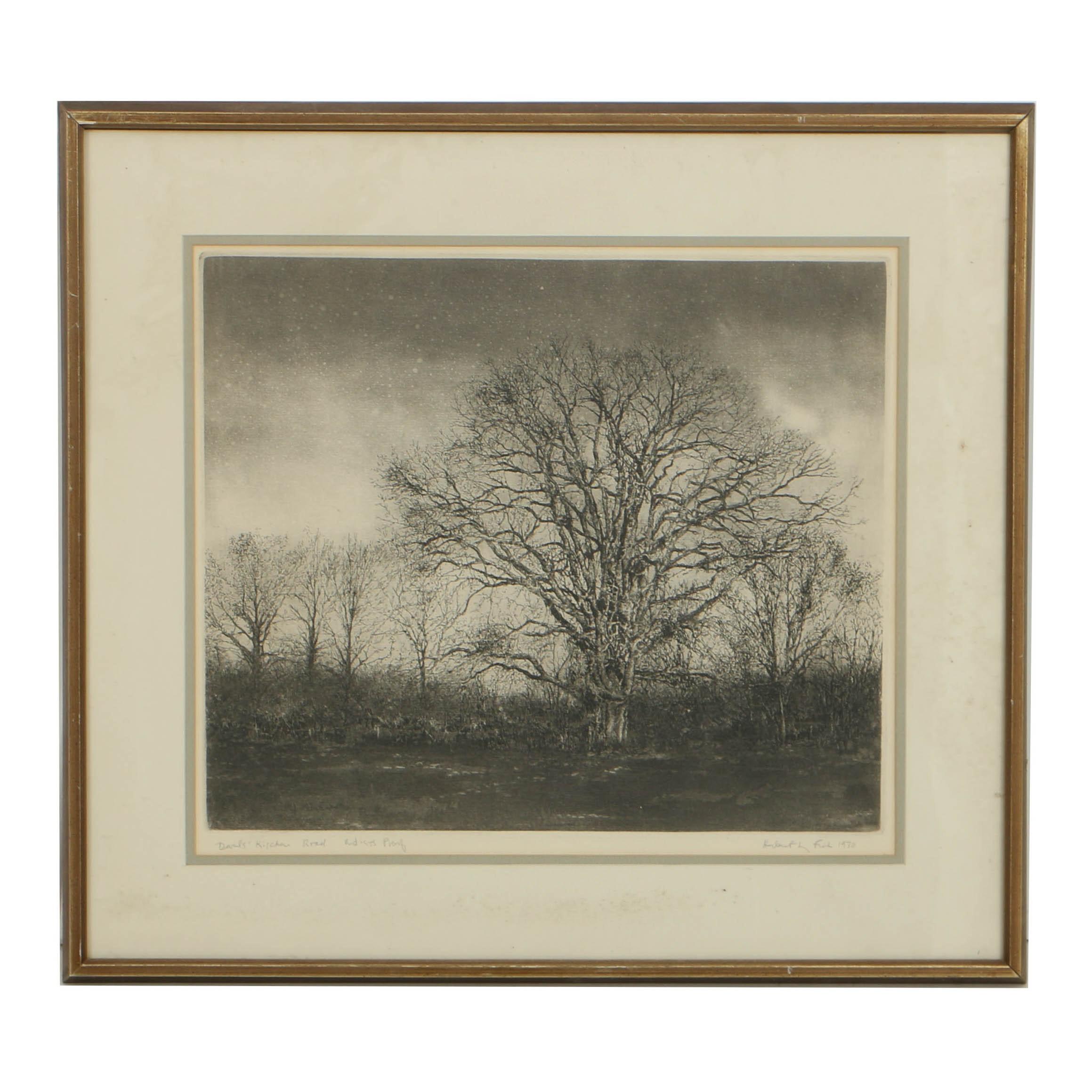 "Herbert Fink Signed Artist's Proof Etching on Paper ""Davids' Kitchen Road"""