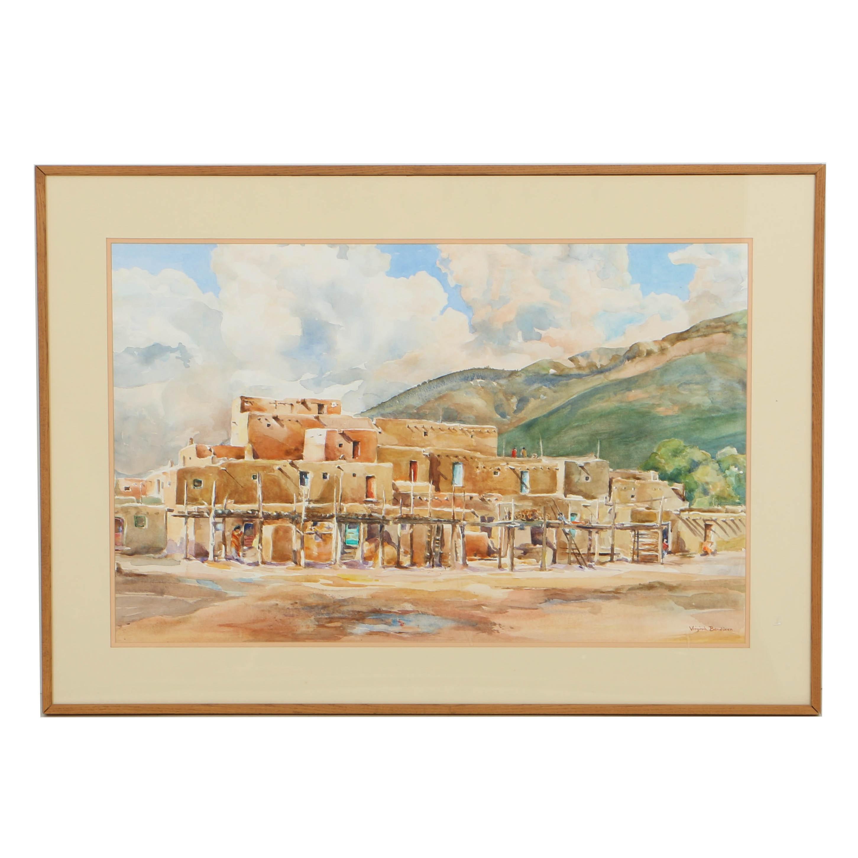 "Virginia Bendixen Watercolor Painting on Paper ""Clouds over Taos"""