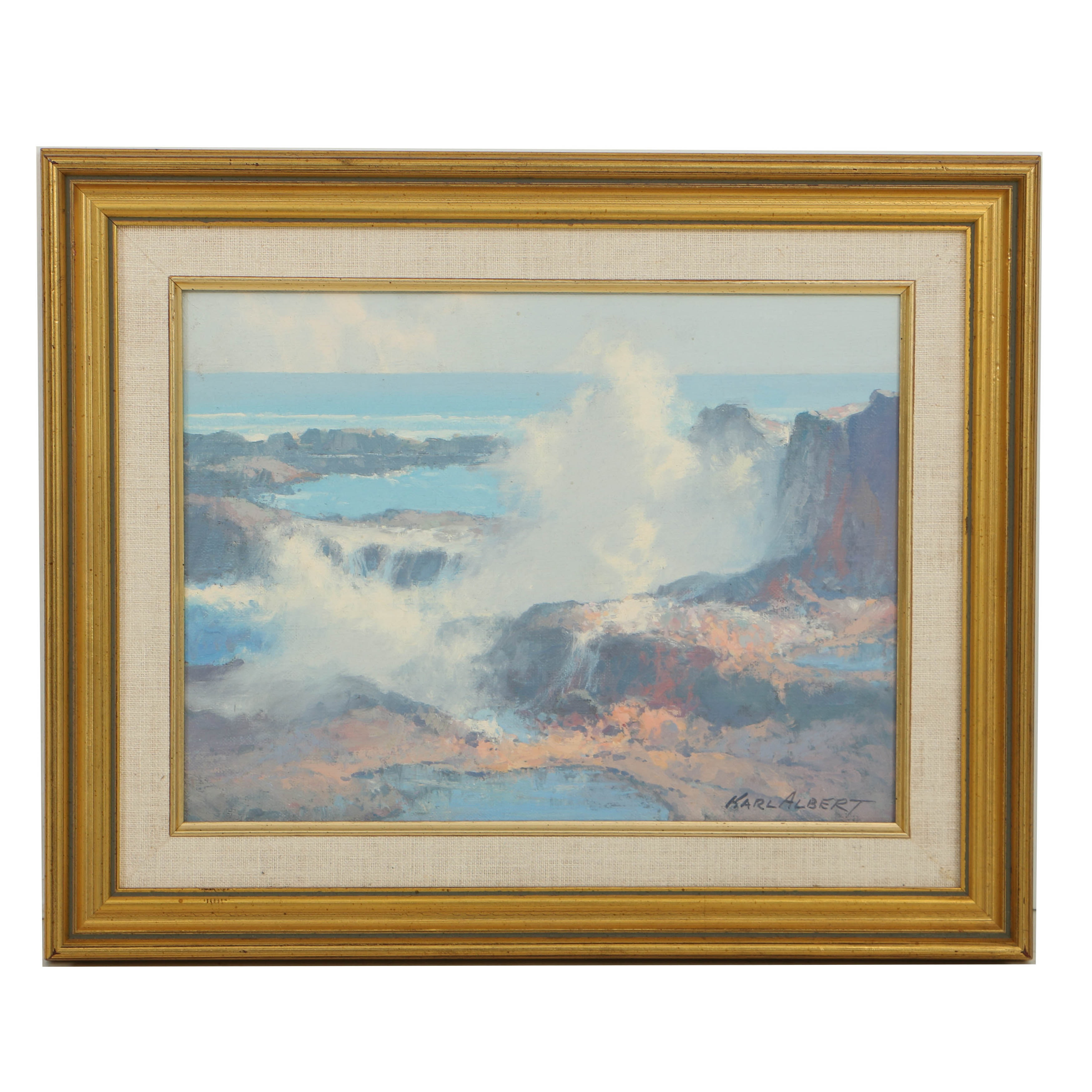 Karl Albert Oil Painting on Canvas Board of Rocky Seascape