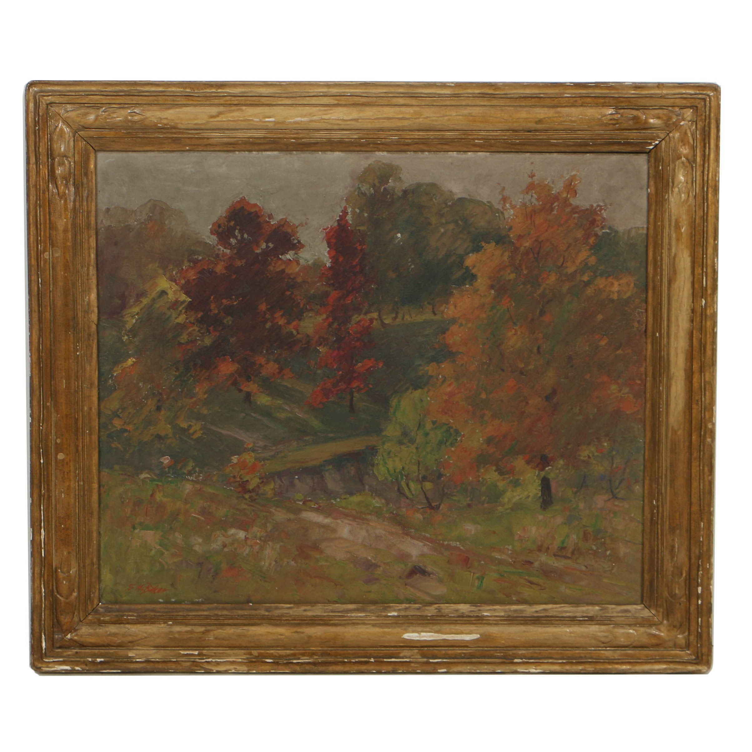 George Herbert Baker Oil Painting on Canvas Autumnal Landscape