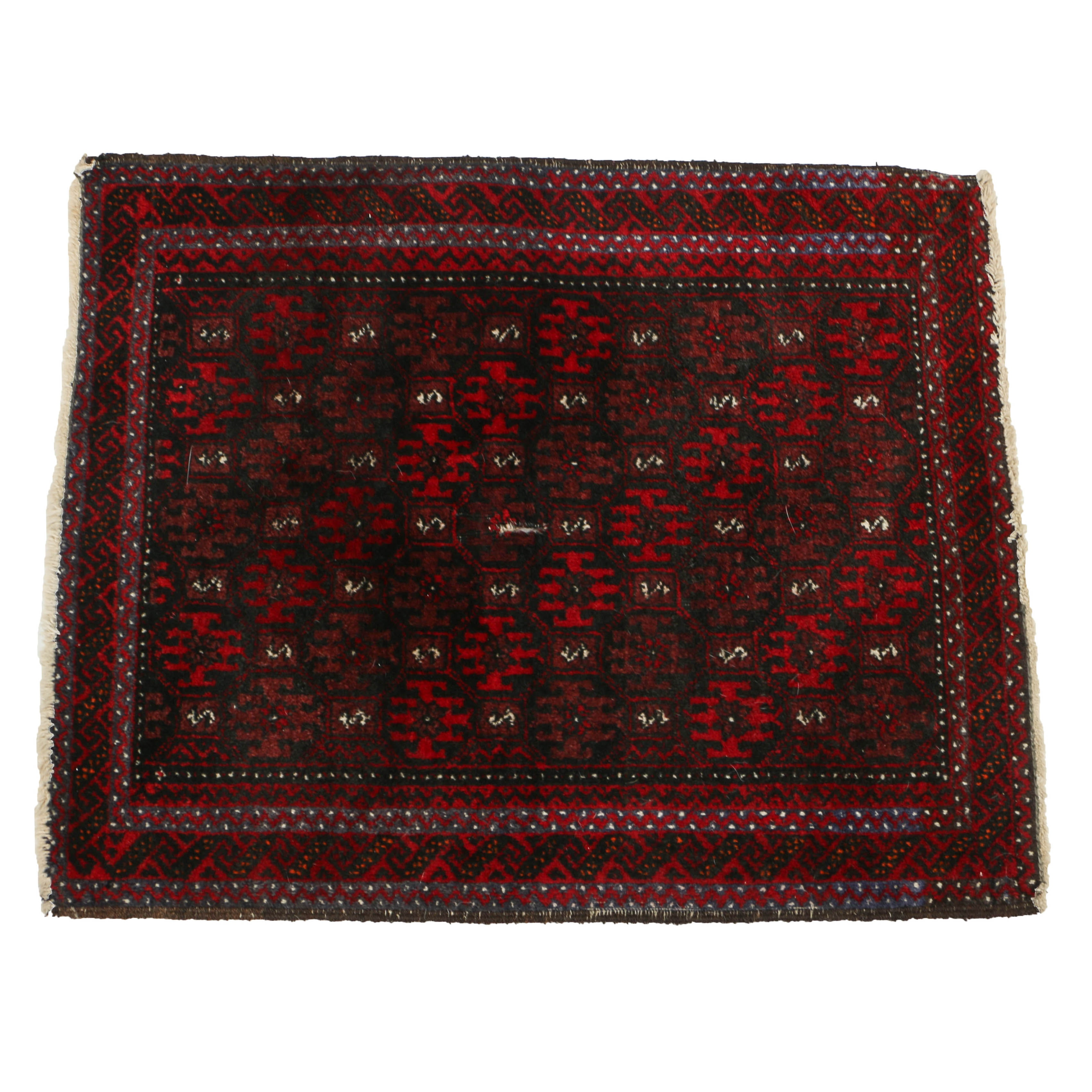 Persian Hand-Knotted Baluch Wool Accent Rug