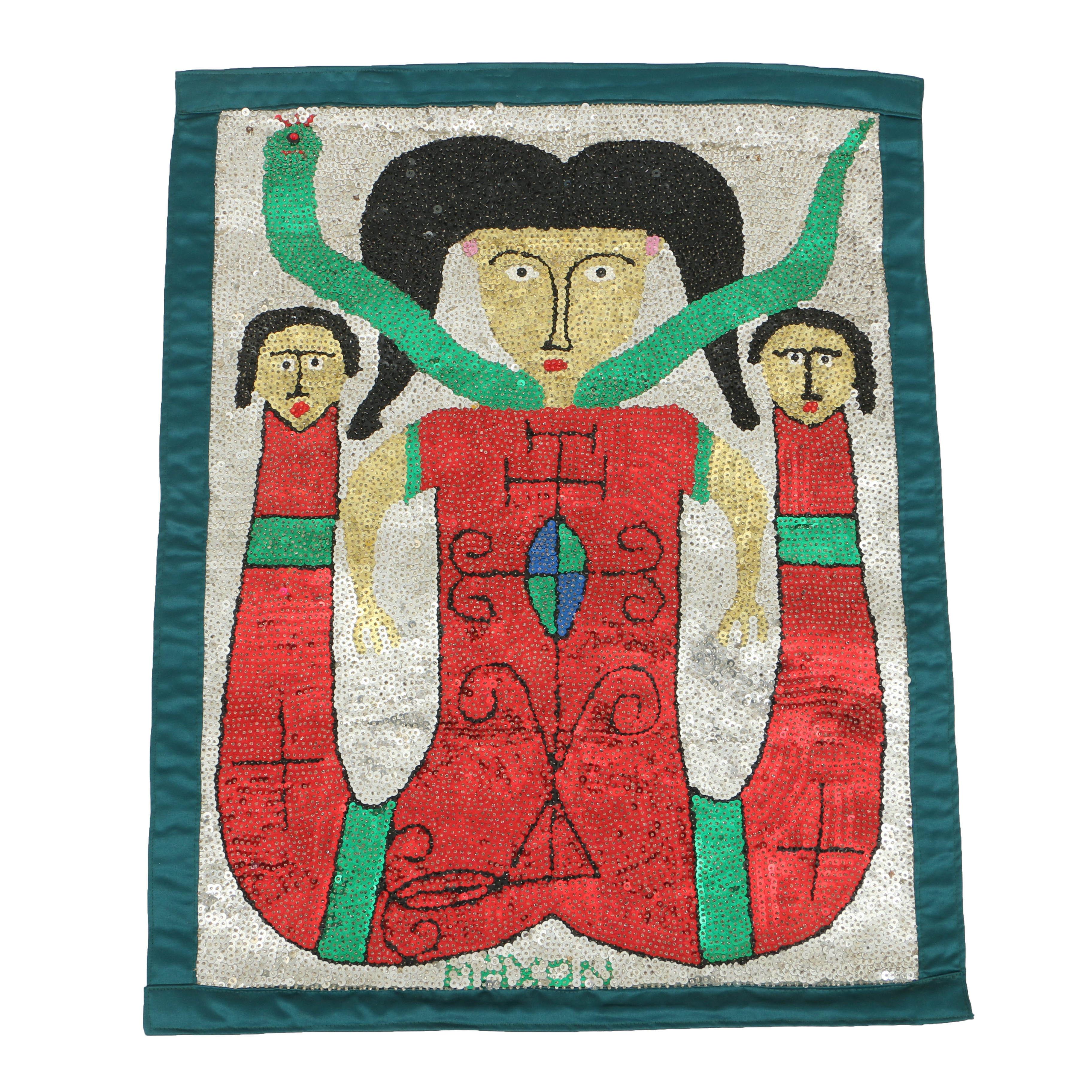 Maxon Sylla Haitian Vodou Folk Art Flag