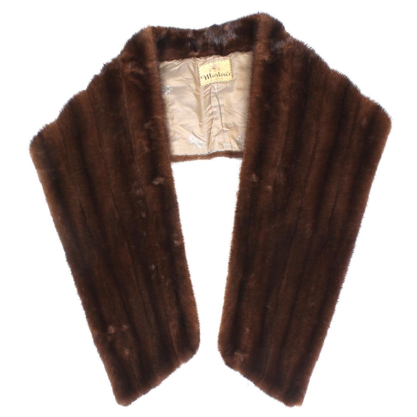 Vintage Morton's of Boston Mahogany Mink Fur Stole