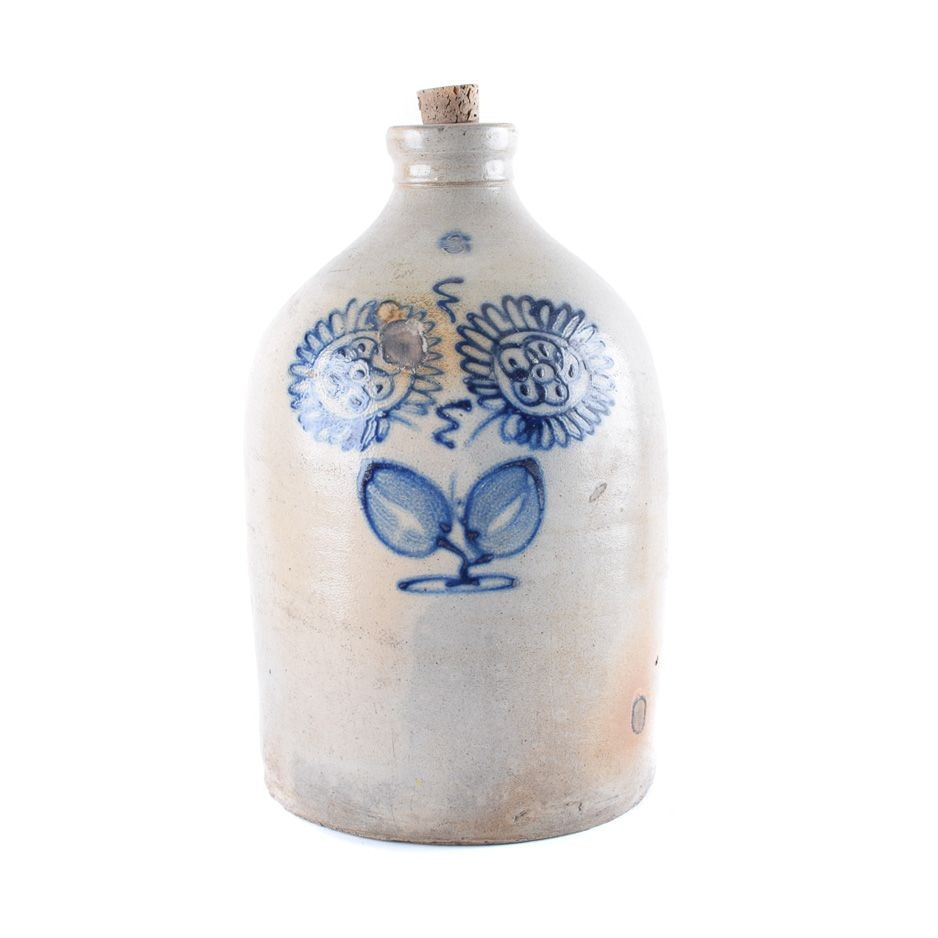 Stoneware Jug with Cobalt Daisy Design