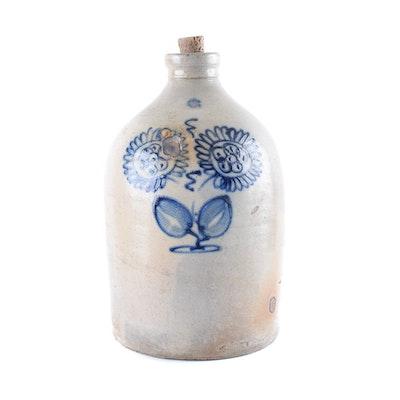 Stoneware Jug with Cobalt Daisy Design