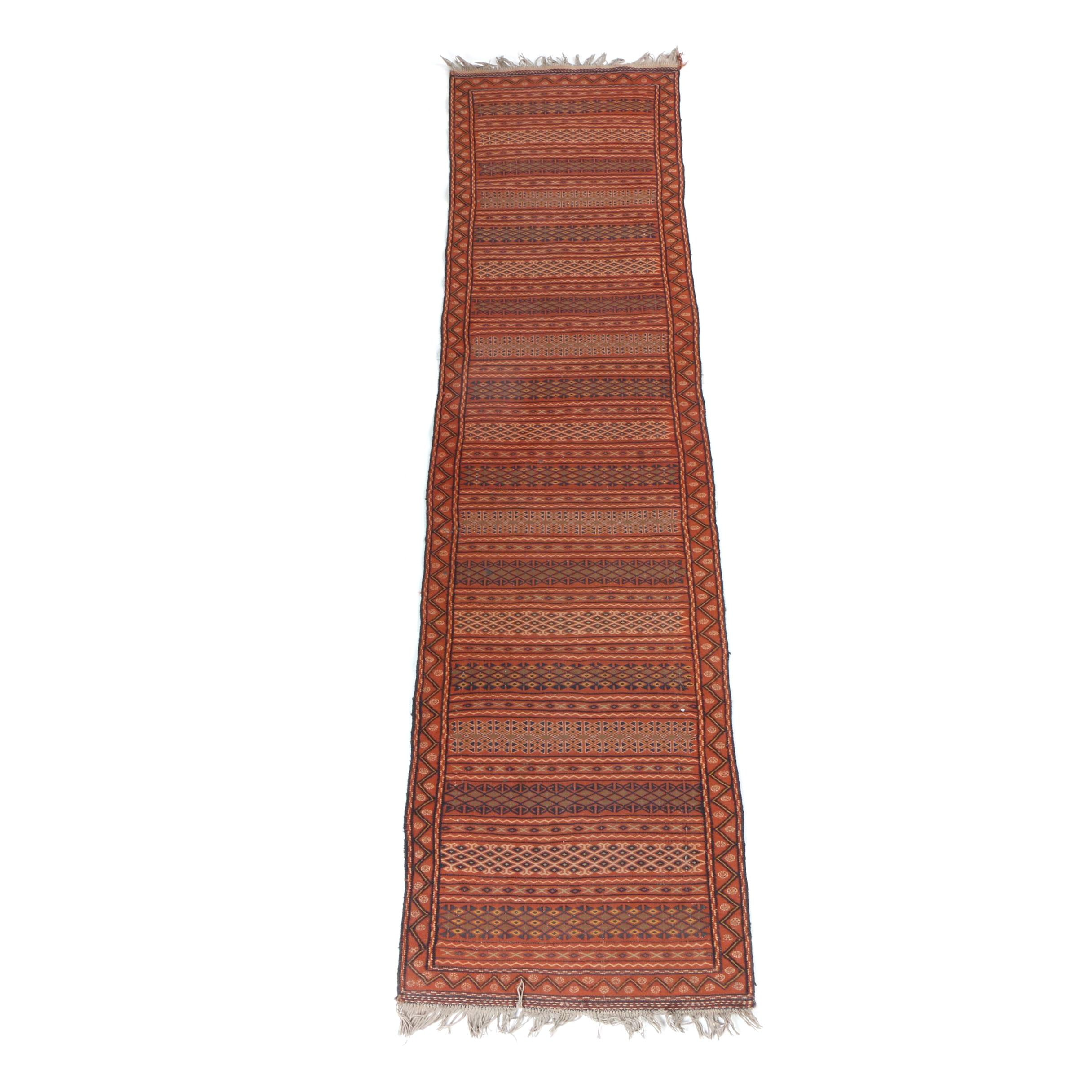 Handwoven and Embroidered North African Carpet Runner