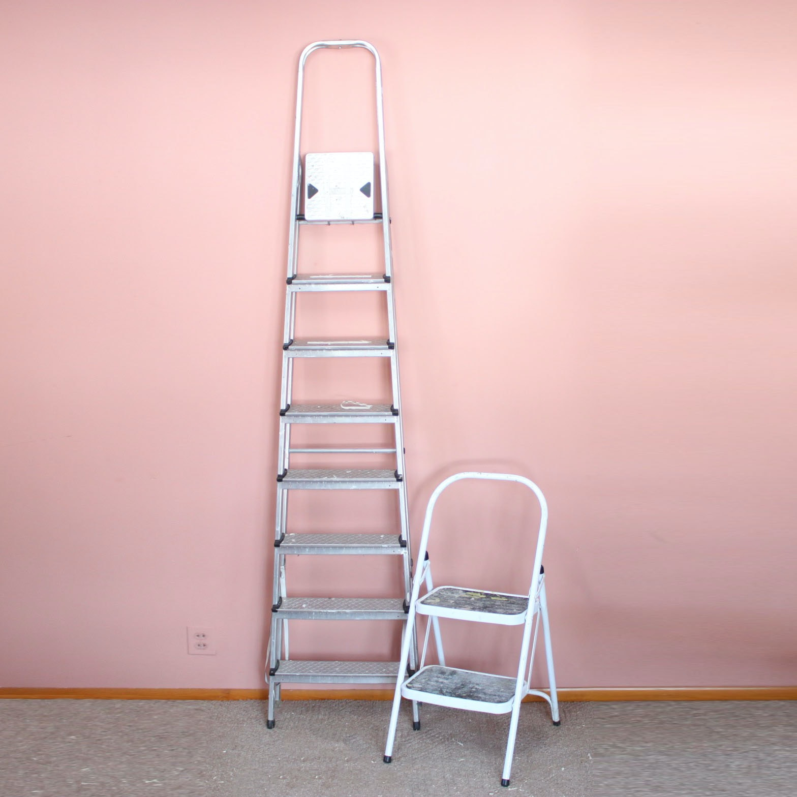 Two Folding Metal Ladders Including Leifheit