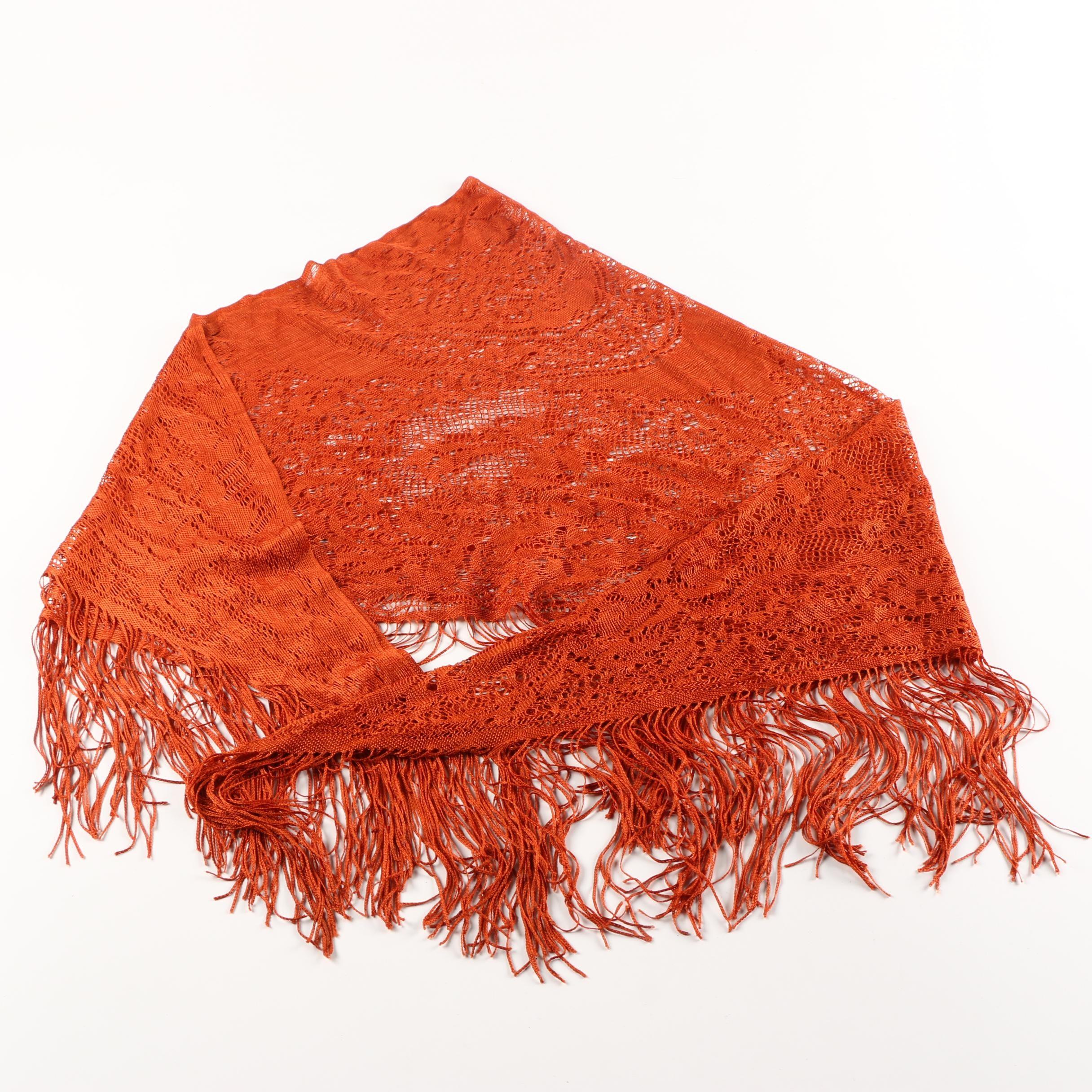 Orange Crocheted Shawl with Fringe