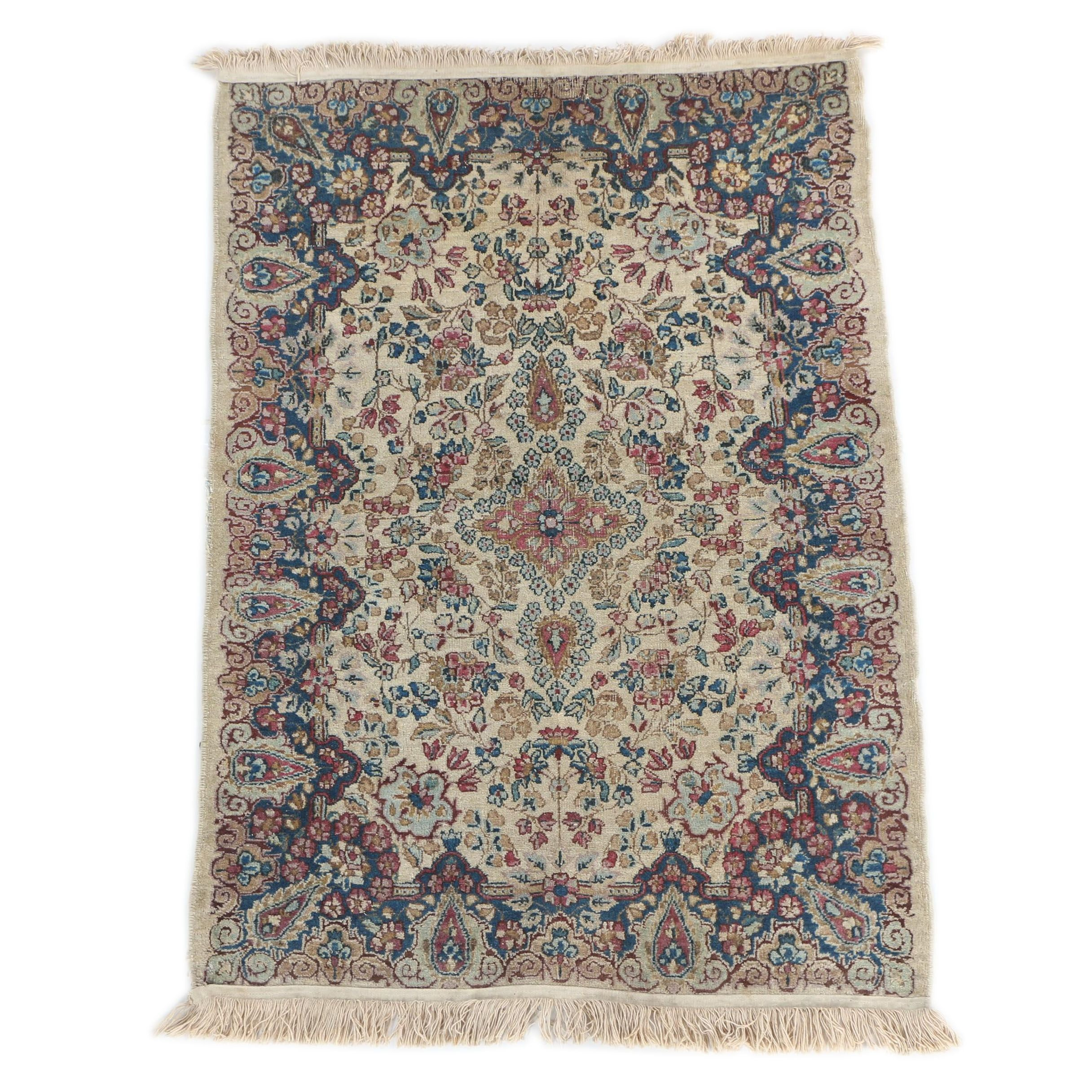 Vintage to Semi-Antique Hand-Knotted Persian Kerman Accent Rug