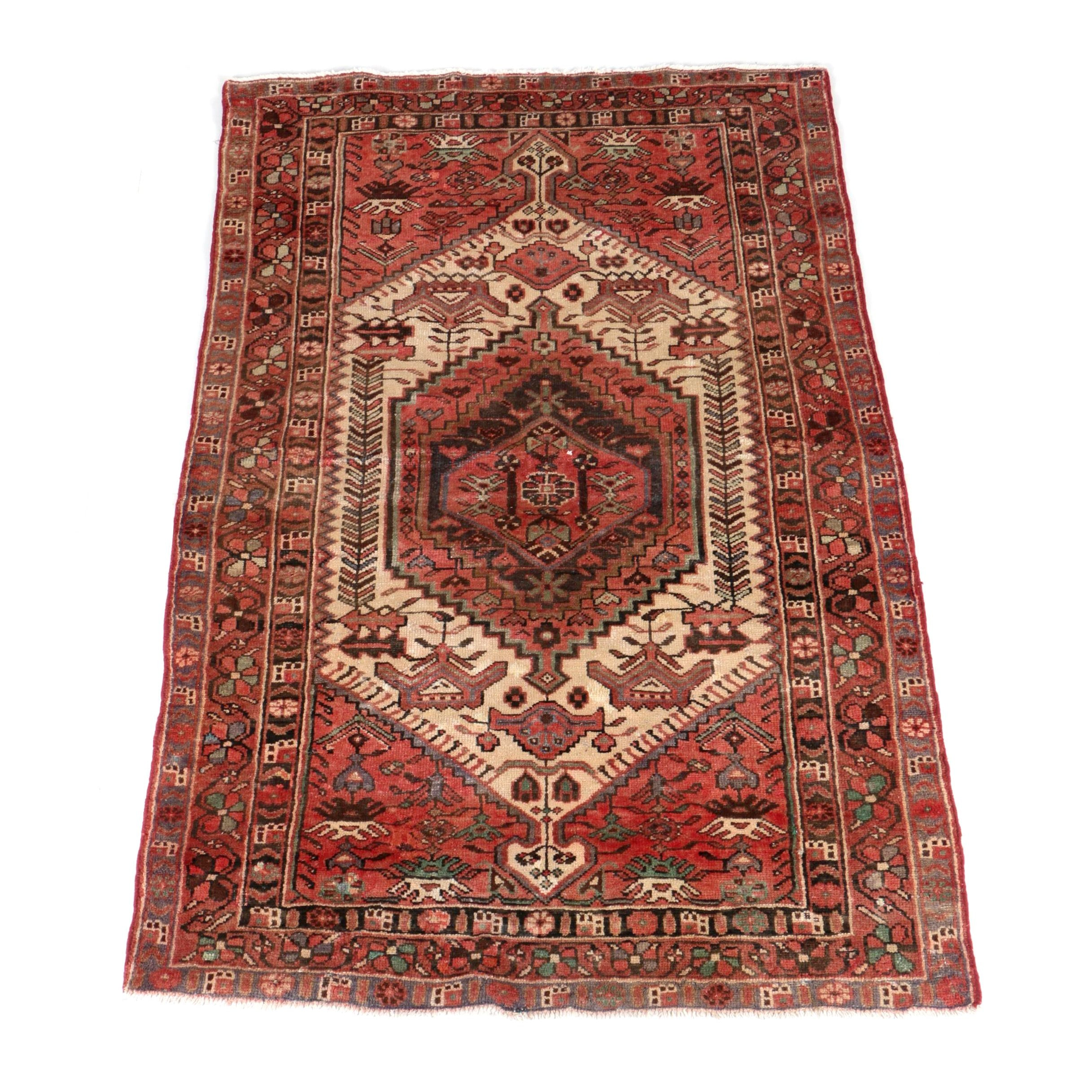 Vintage Handwoven Persian Kurdish Bijar Wool Area Rug