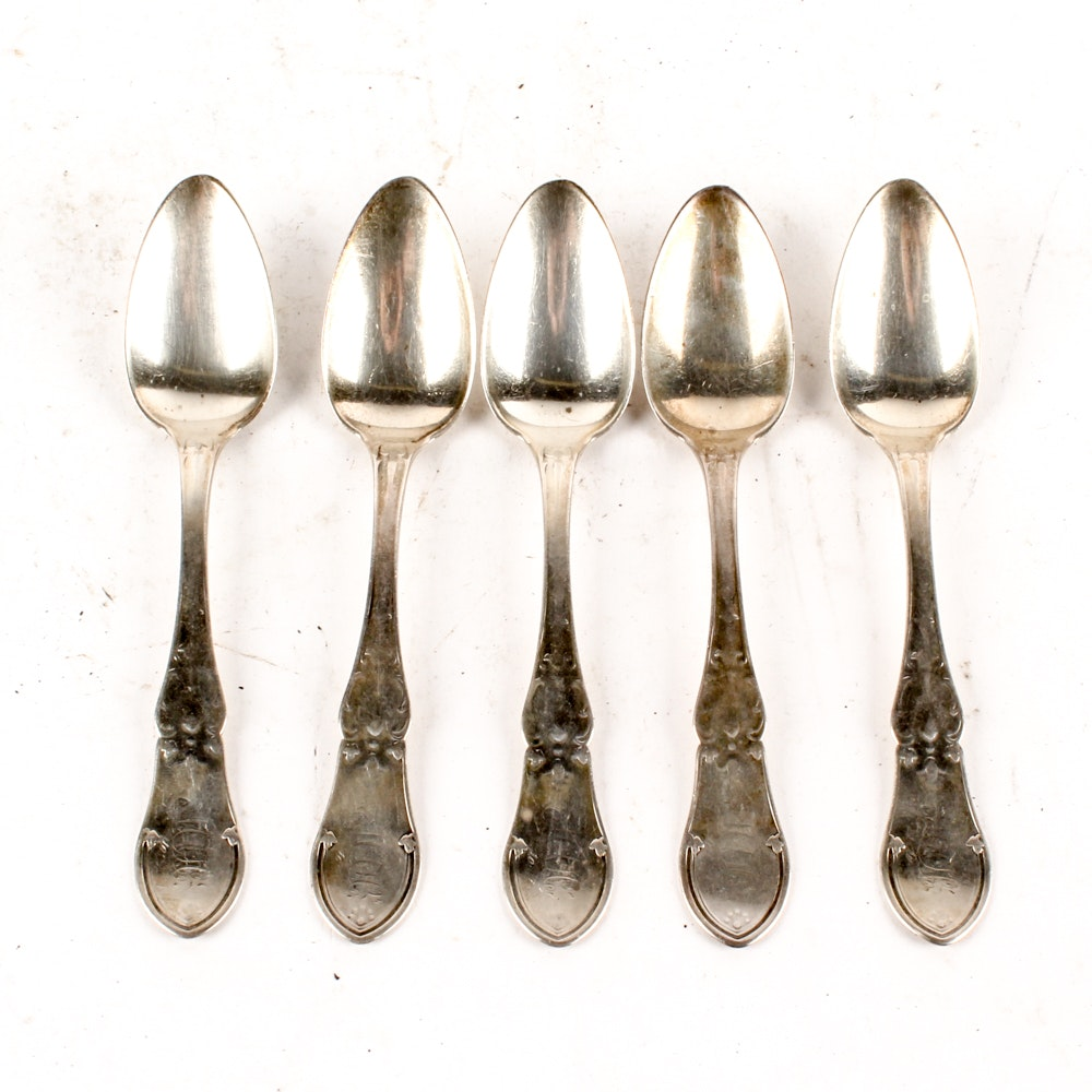 19th Century Brown & Marsters Coin Silver Foliate Handle Teaspoons