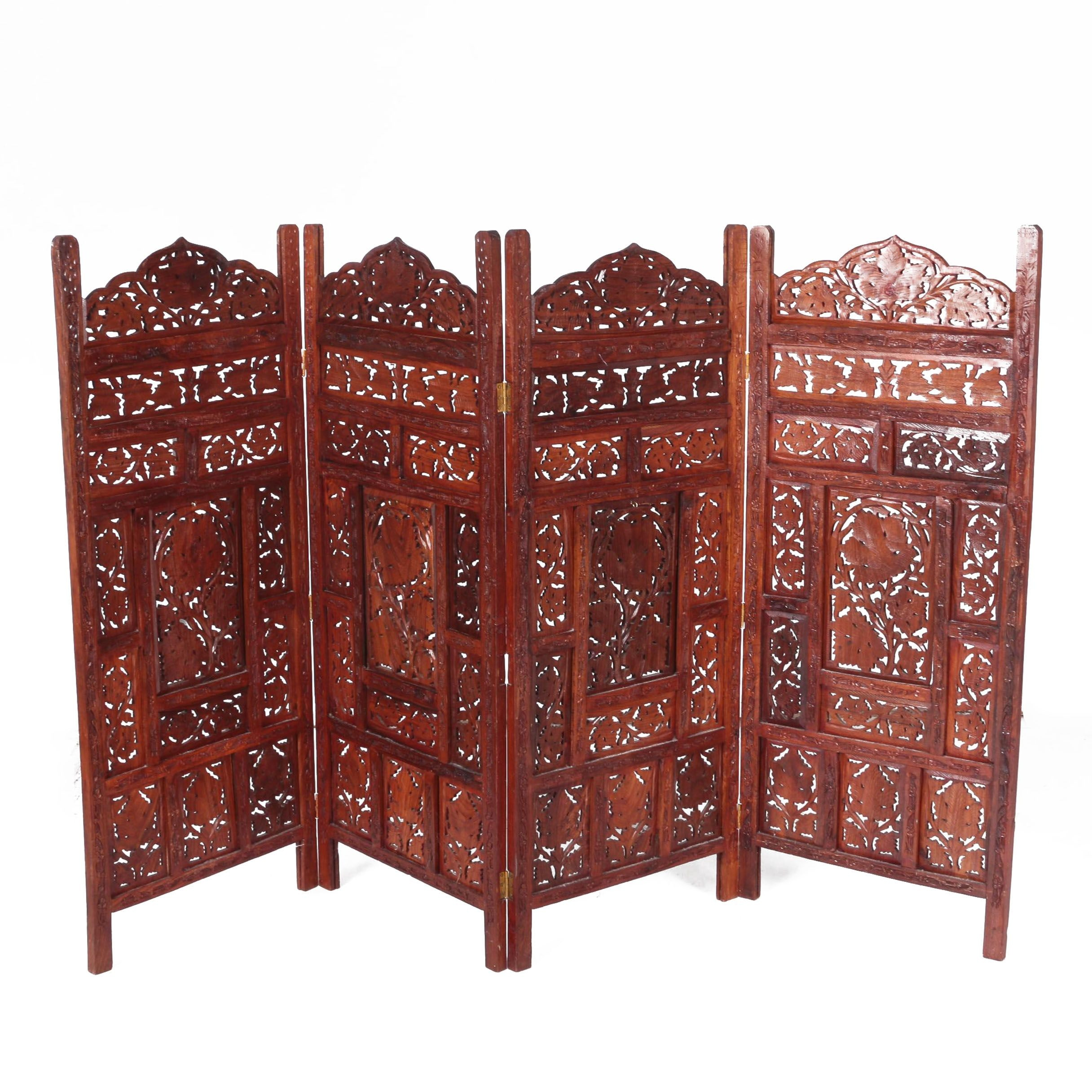 Indian Carved Wood Panel Screen