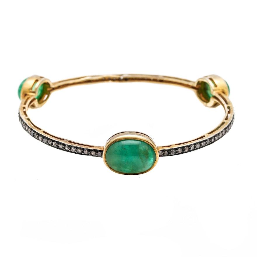 Gold Wash On Sterling Silver Emerald And Diamond Bangle Bracelet