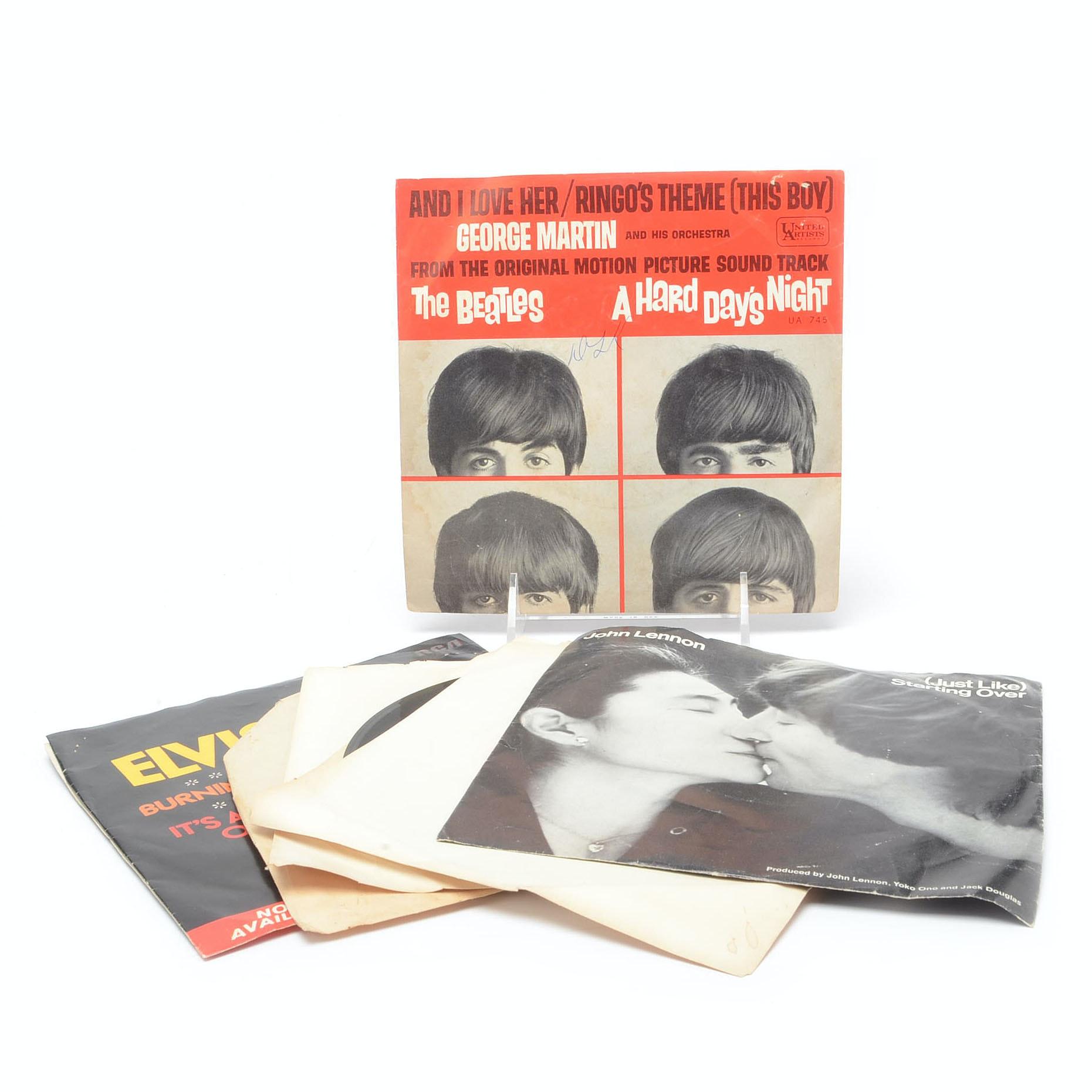 Beatles, John Lennon and Elvis 45 rpm Singles