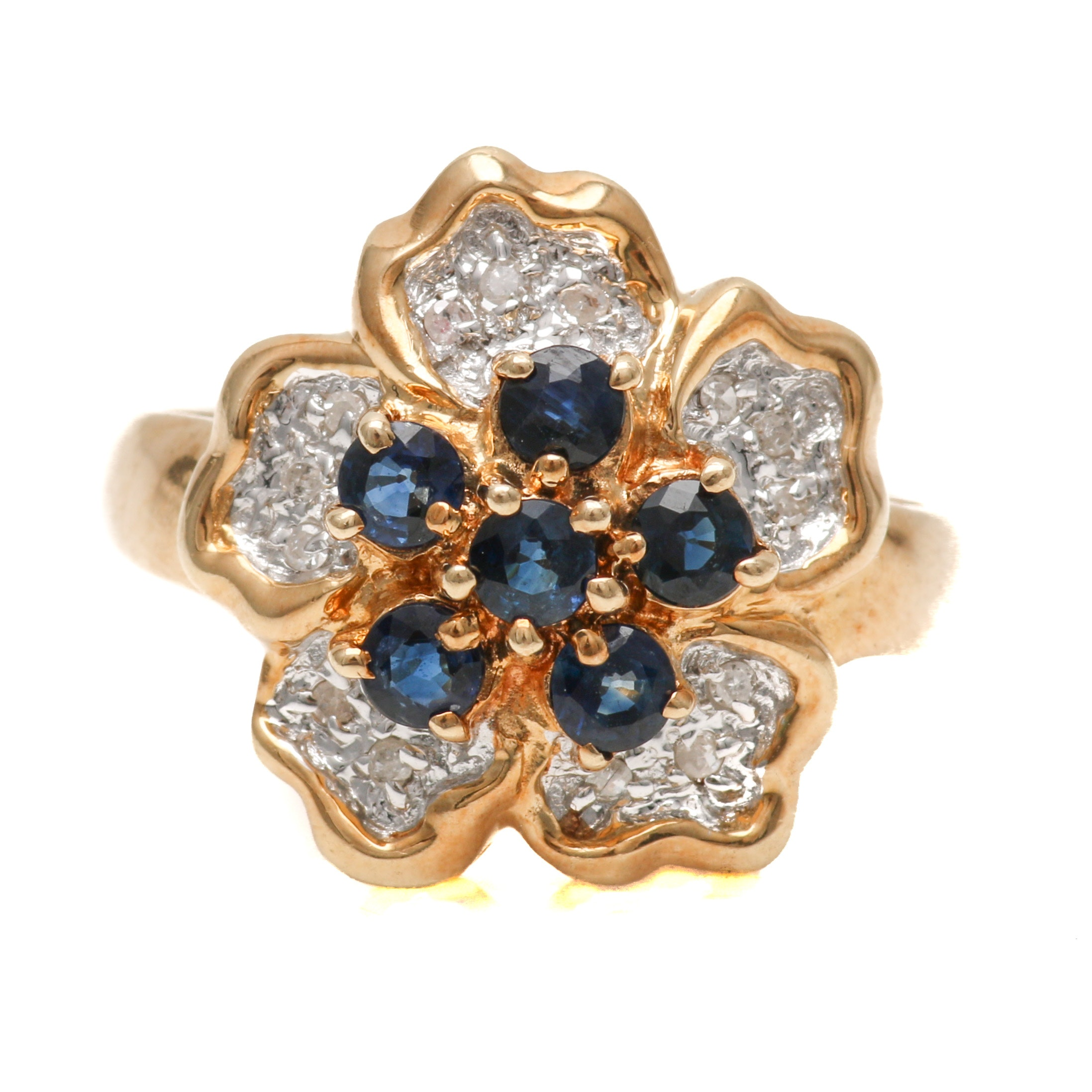 10K Yellow Gold Sapphire and Diamond Floral Ring