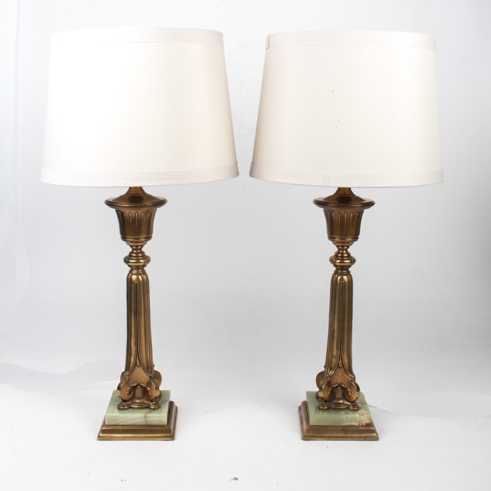 Vintage Brass and Marble Table Lamp Pair