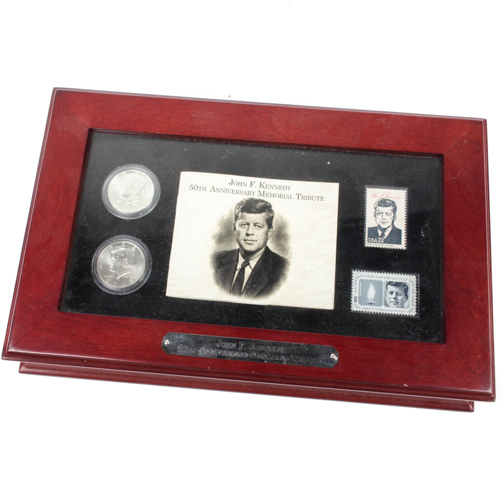 John F. Kennedy 50th Anniversary Memorial Tribute Coin and Stamp Set