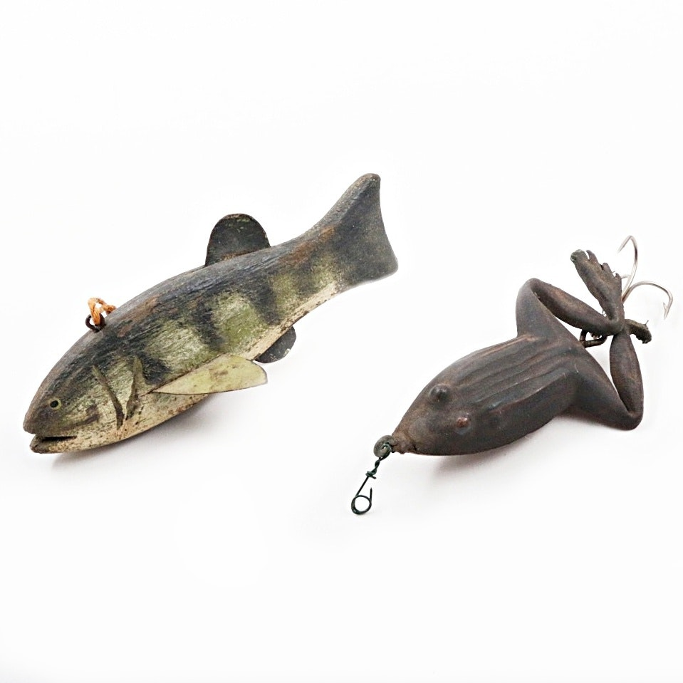 Vintage Rubber Fishing Lure and Painted Wooden Decoy
