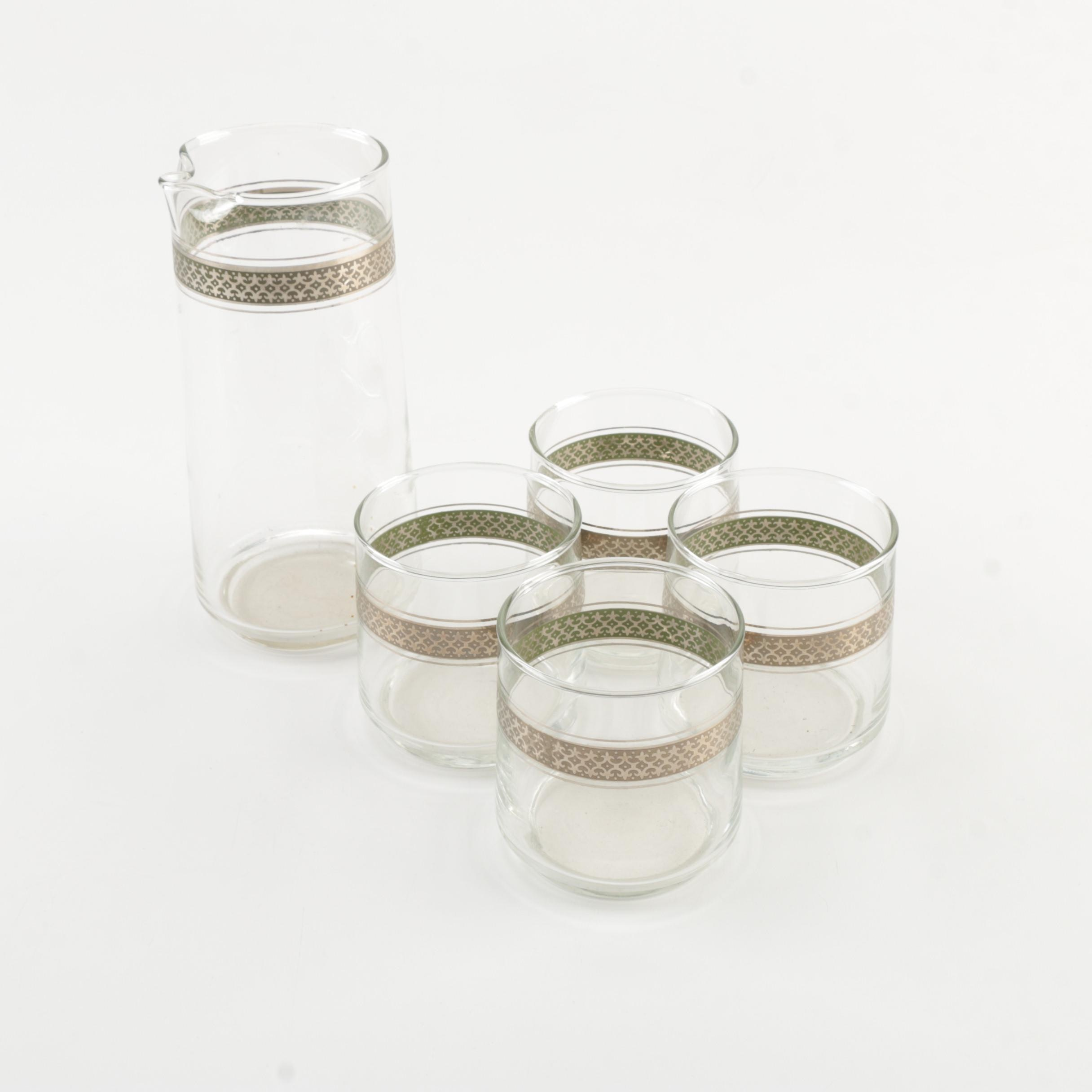 Silver Tone Rimmed Drinkware Set