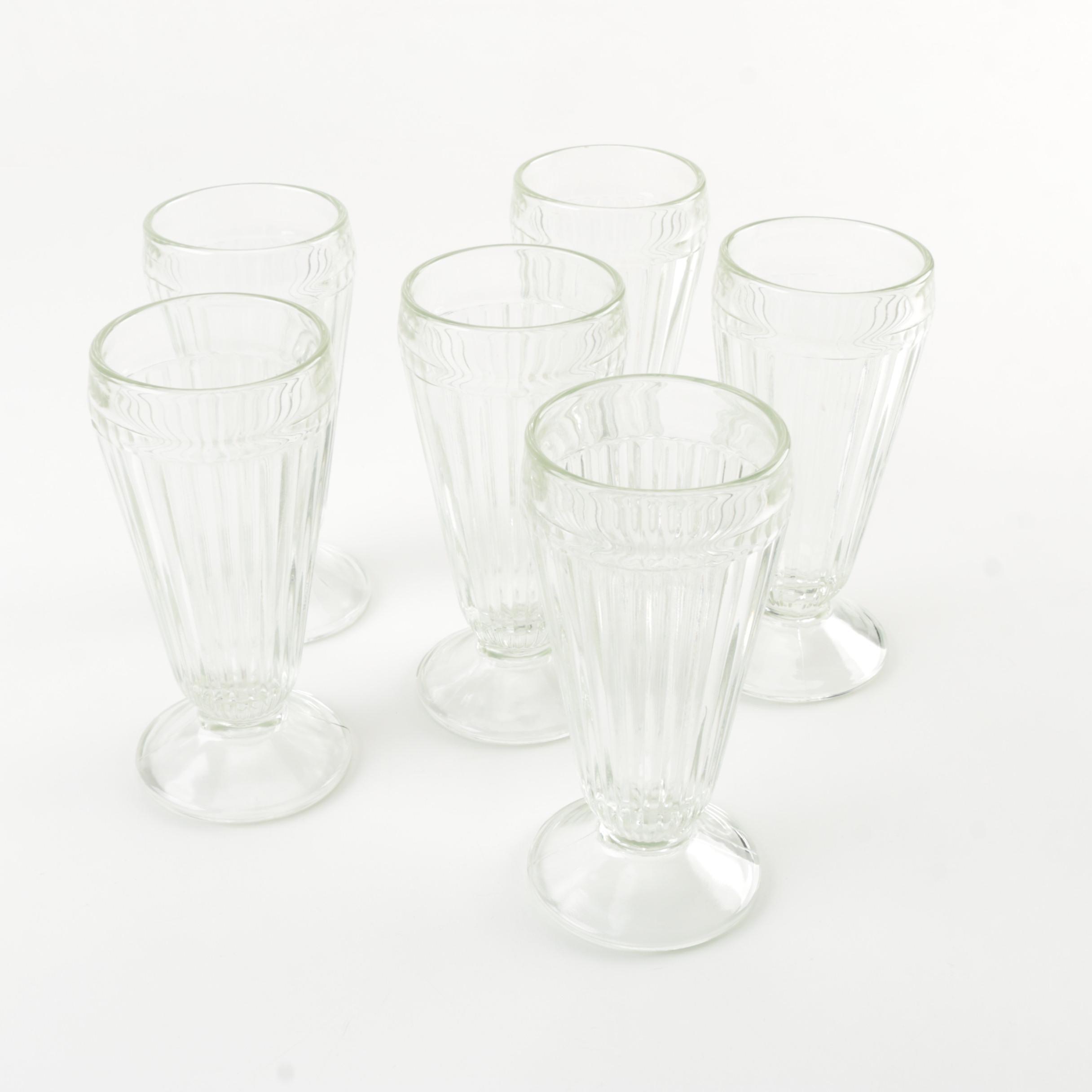 Six Clear Milkshake Glasses
