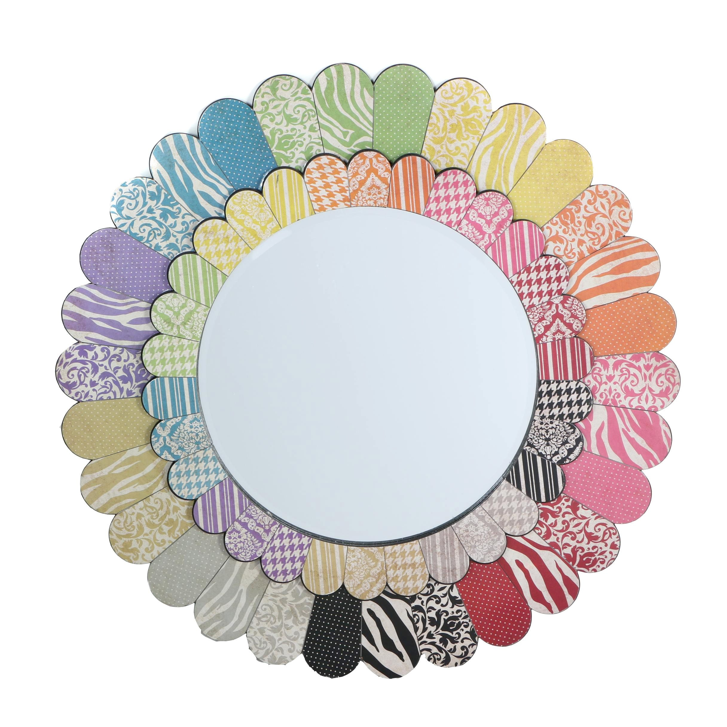 Decorative Wall Mirror with Patterned Frame
