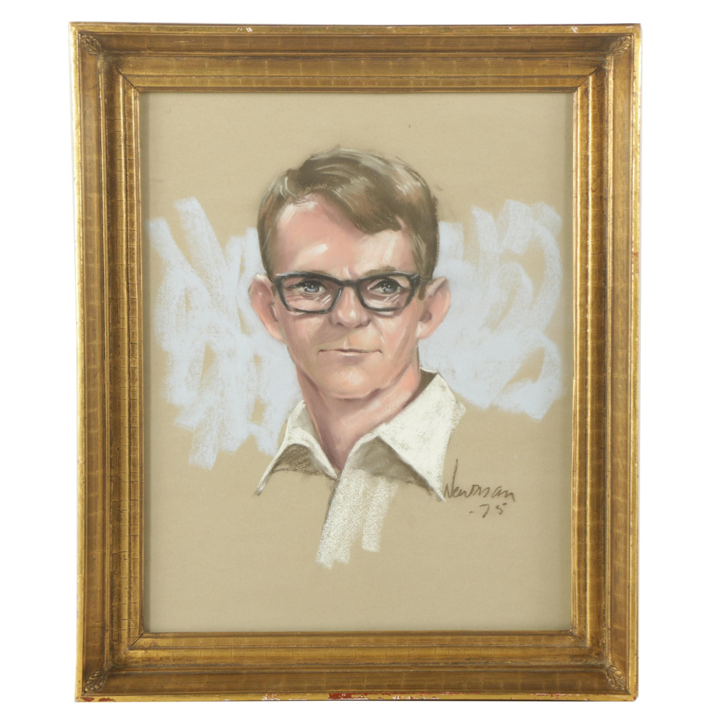 1975 Newman Chalk Pastel Portrait of a Man