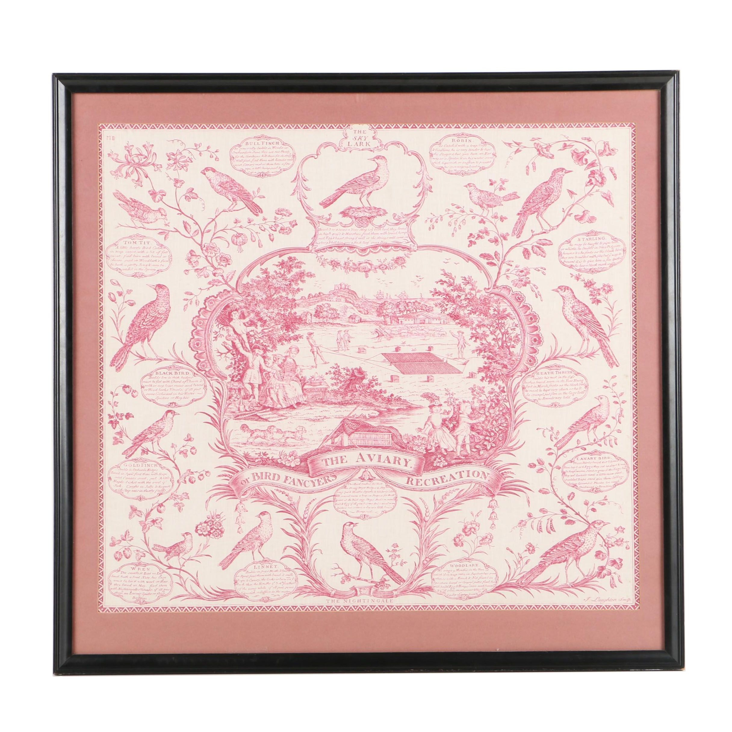 """Reproduction Print on Fabric After J. Laughton's """"The Aviary"""""""