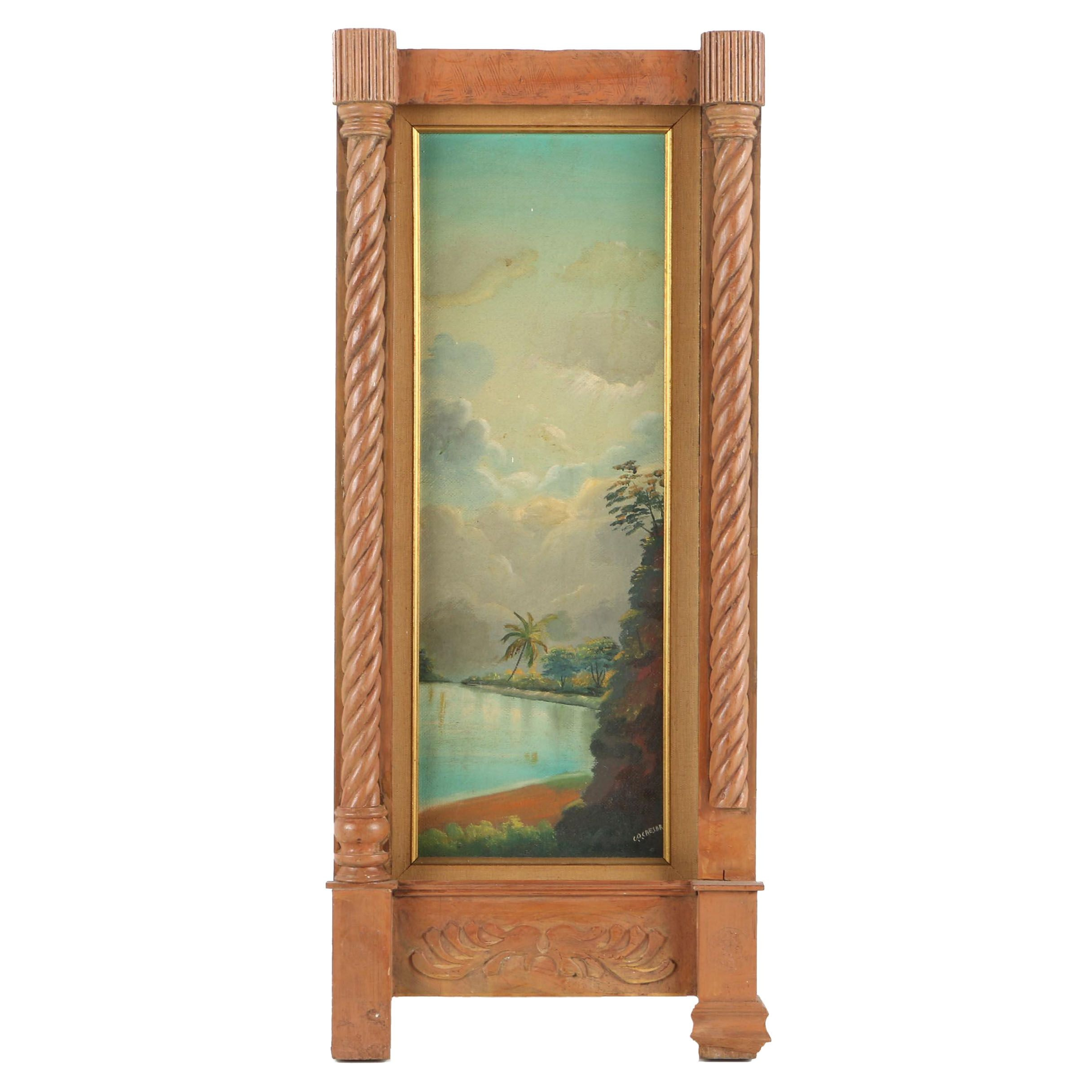 G.O. Caesar Oil Painting on Canvas Board of Tropical Landscape at Twilight