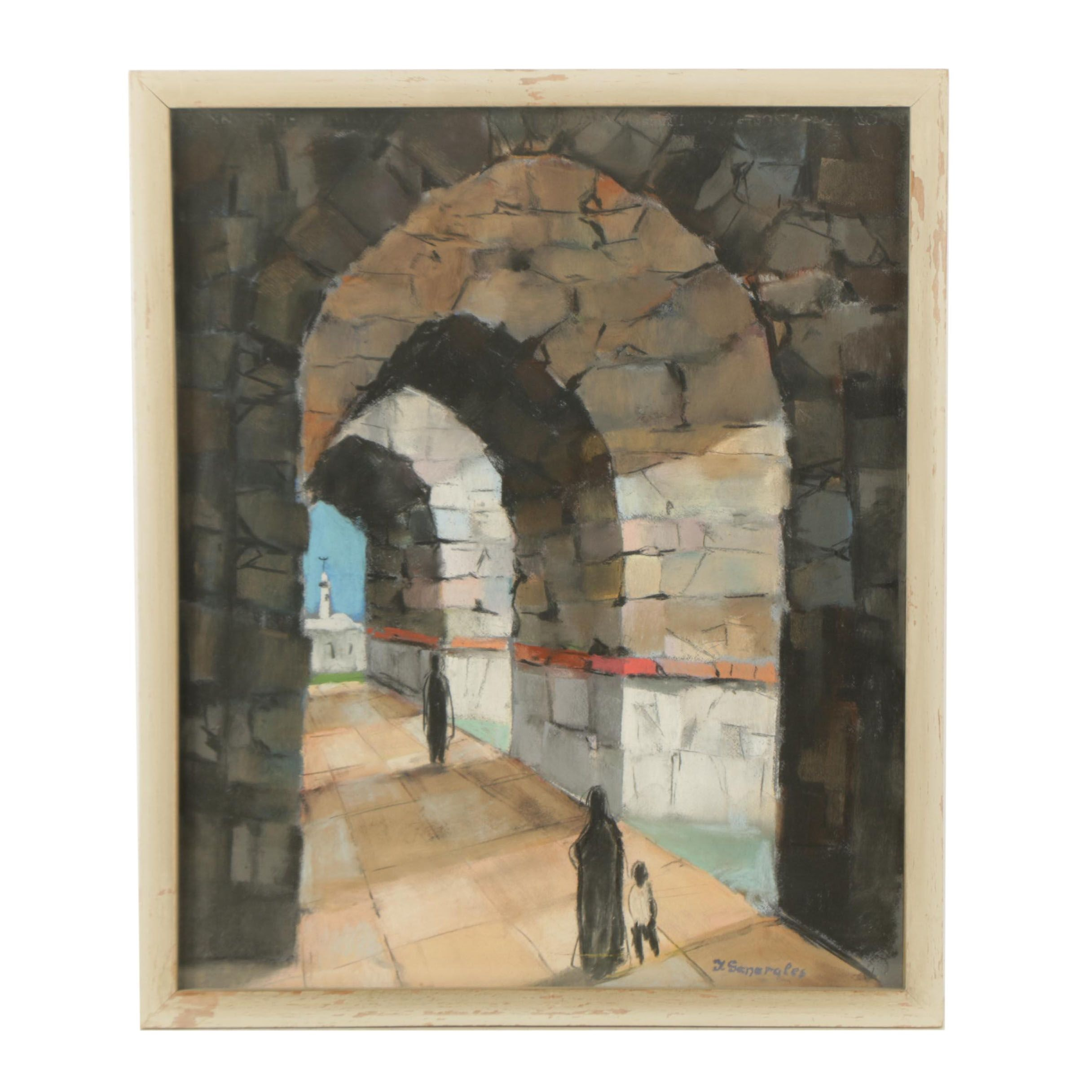 J. Generales Pastel Drawing on Paper of Figures in Arched Passageway