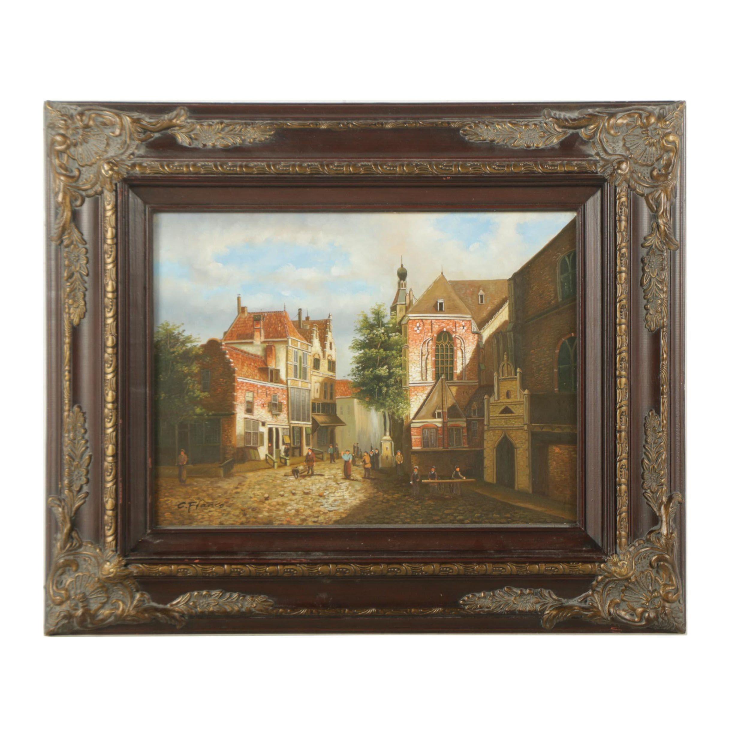 C. Franco Oil Painting on Panel of European Village Scene