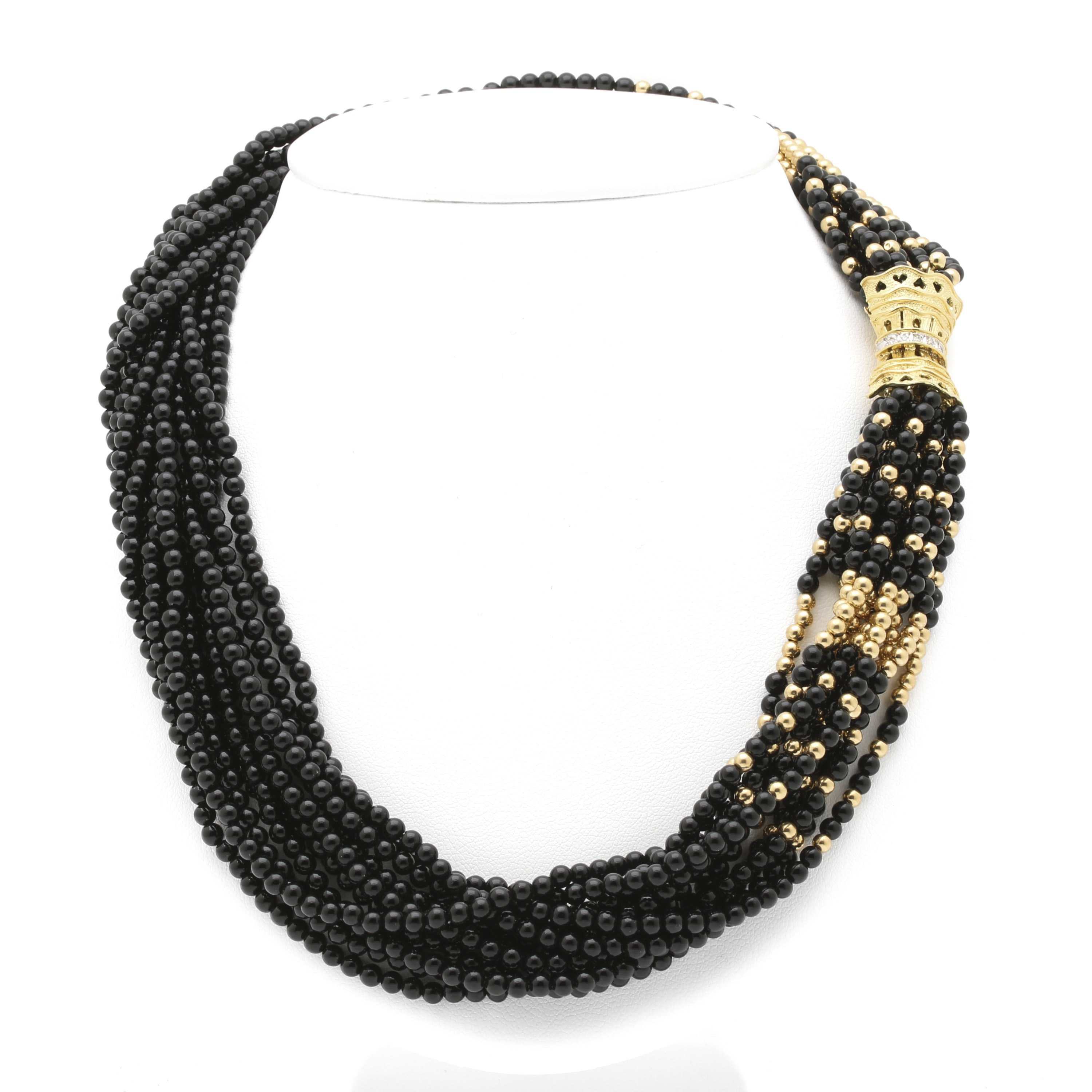 14K Yellow Gold Black Onyx Necklace with Diamond Clasp