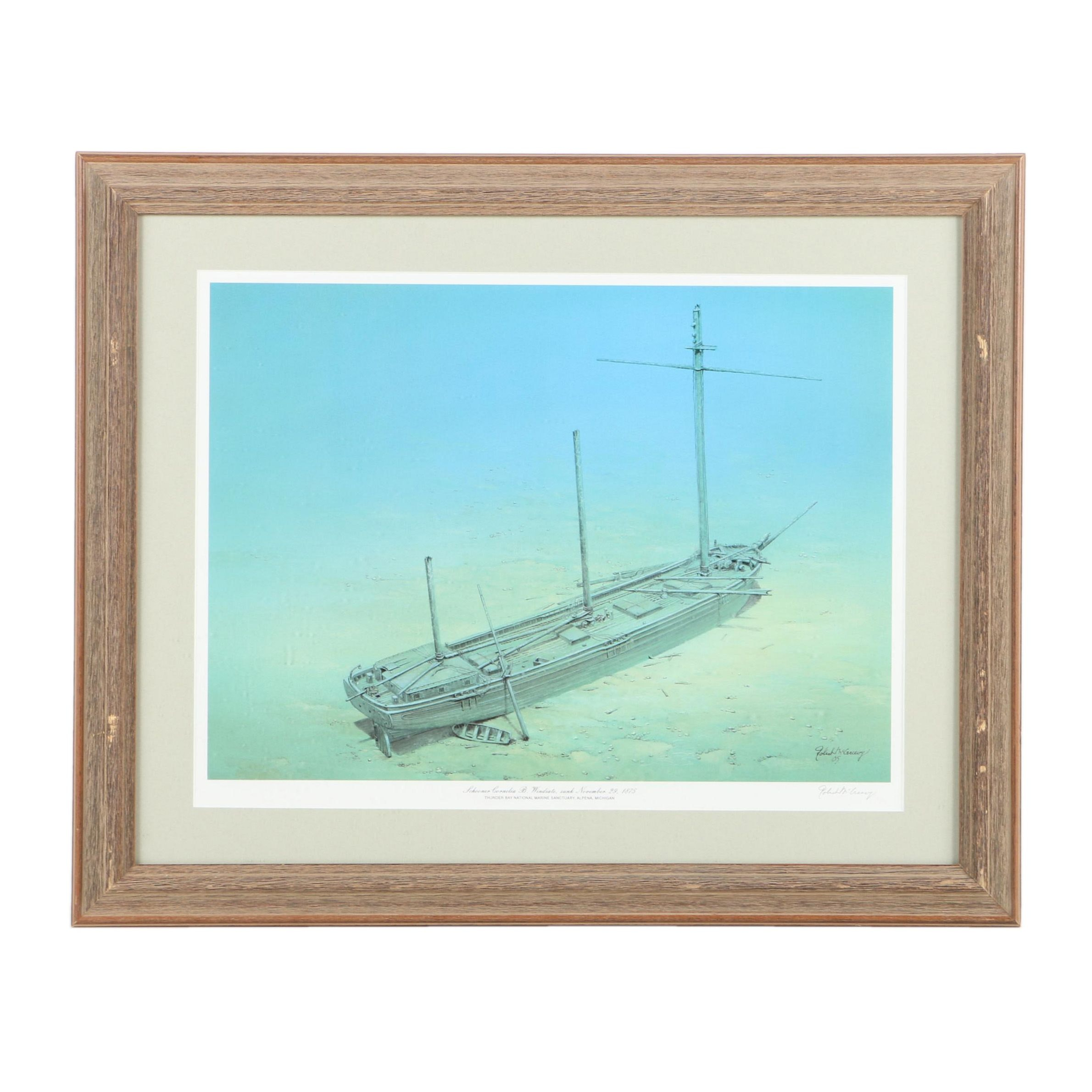 Offset Lithograph After Robert McGreevy of a Shipwreck