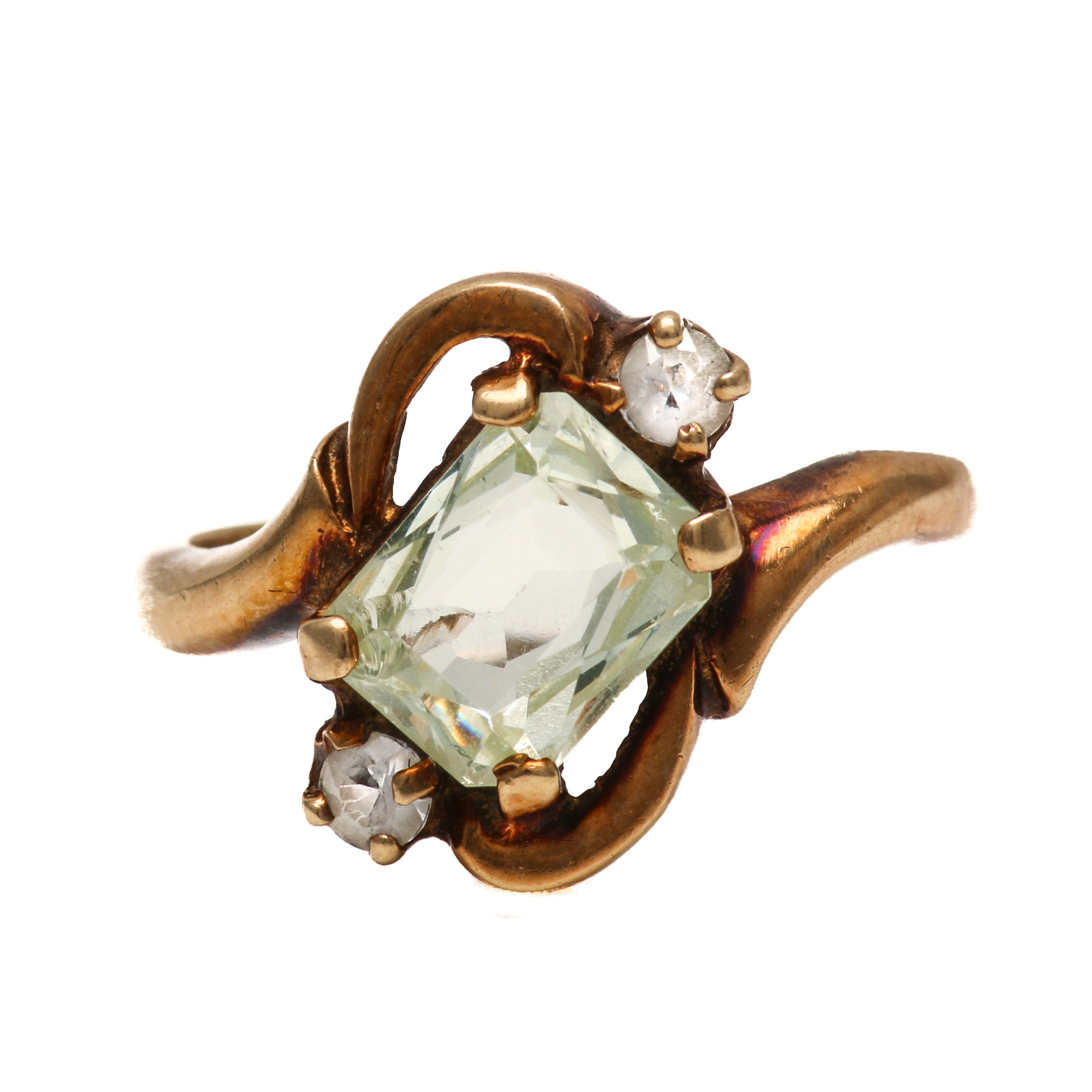Art Nouveau 10K Yellow Gold Spinel Ring