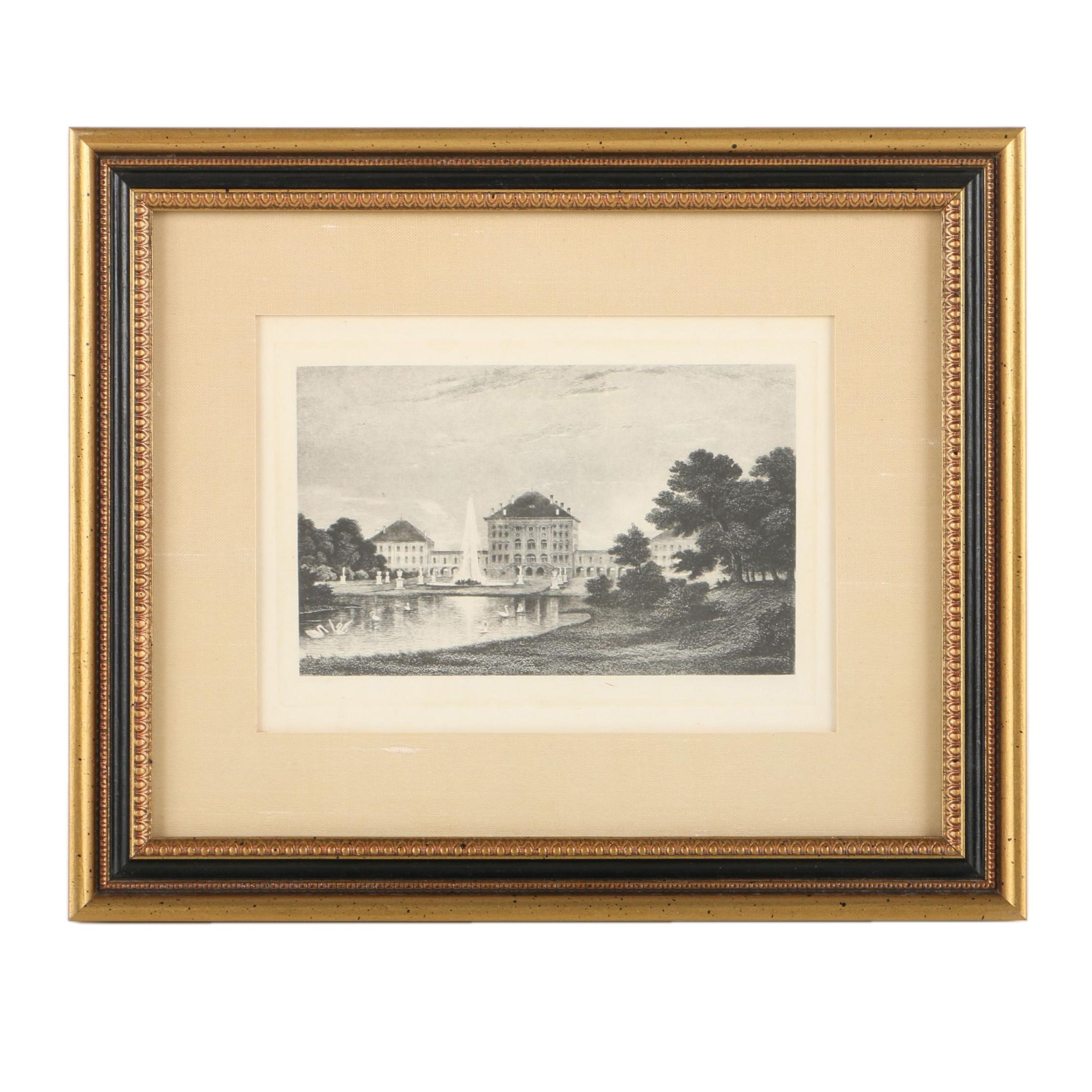 Early 20th-Century Photogravure on Paper of Large Estate with Pond
