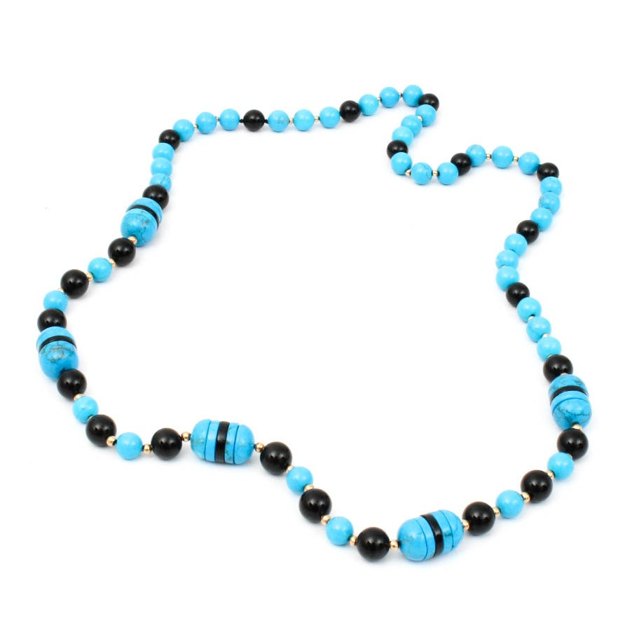 Onyx and Stone Beaded Necklace
