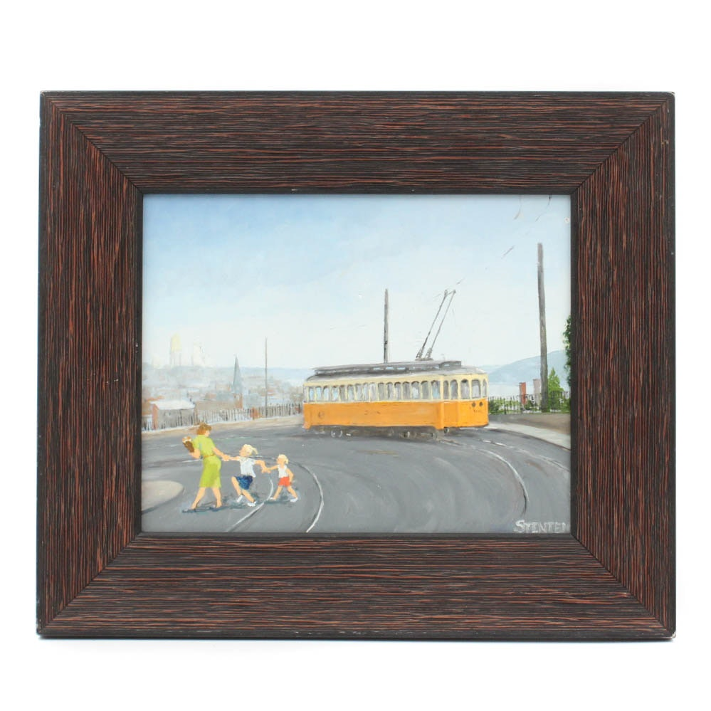 "Stan Stenten Signed Oil Painting ""Elberon Trolley 1950's"""