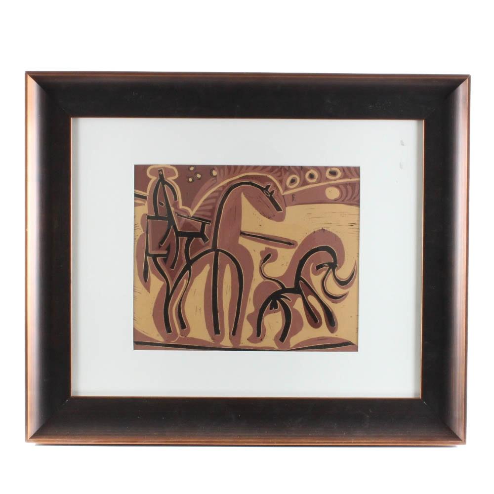 "Pablo Picasso Color Linoleum Cut ""Picador and Bull"" 1962"