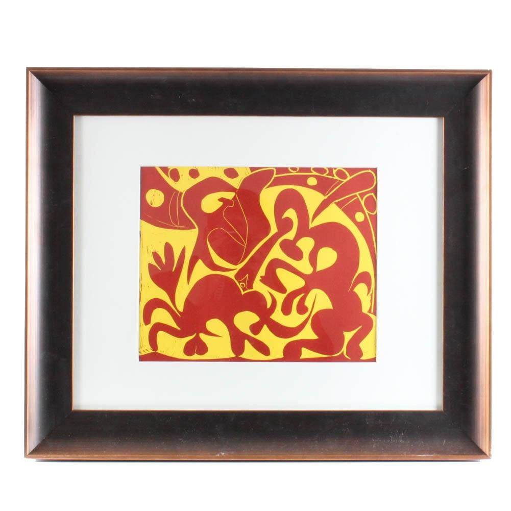 """Pablo Picasso Color Linoleum Cut """"Picador Goading Bull with Matador"""" 1962"""