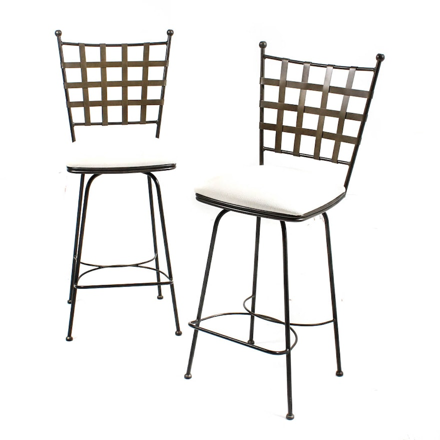 Admirable Two Charleston Forge Etrusche Wrought Iron Bar Chairs Caraccident5 Cool Chair Designs And Ideas Caraccident5Info