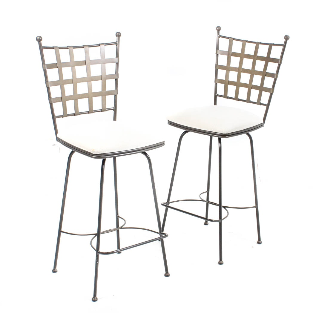 "Two Charleston Forge ""Etrusche"" Wrought Iron Bar Chairs"