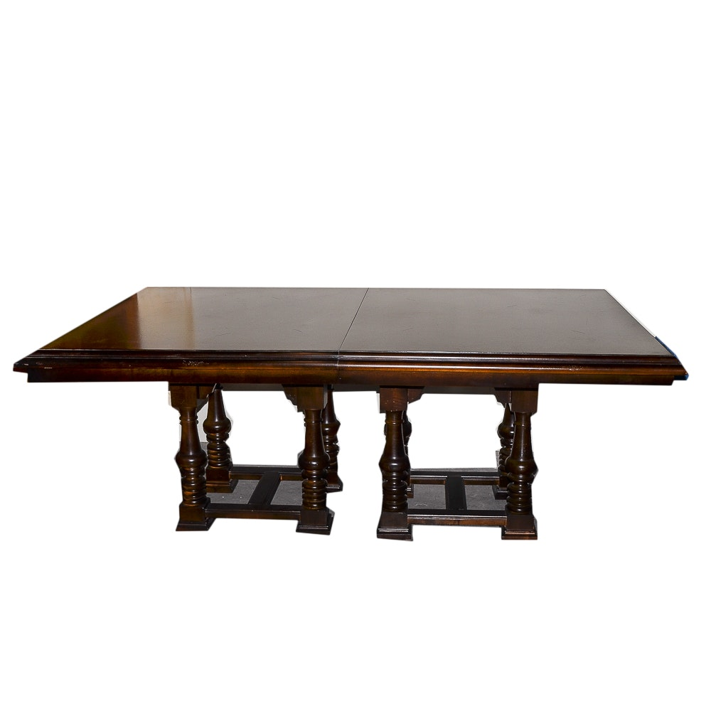 Double Pedestal Maple Dining Table by Stanley Furniture Co.